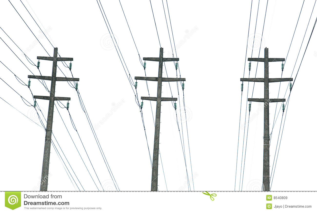 parallel power transmission lines stock image