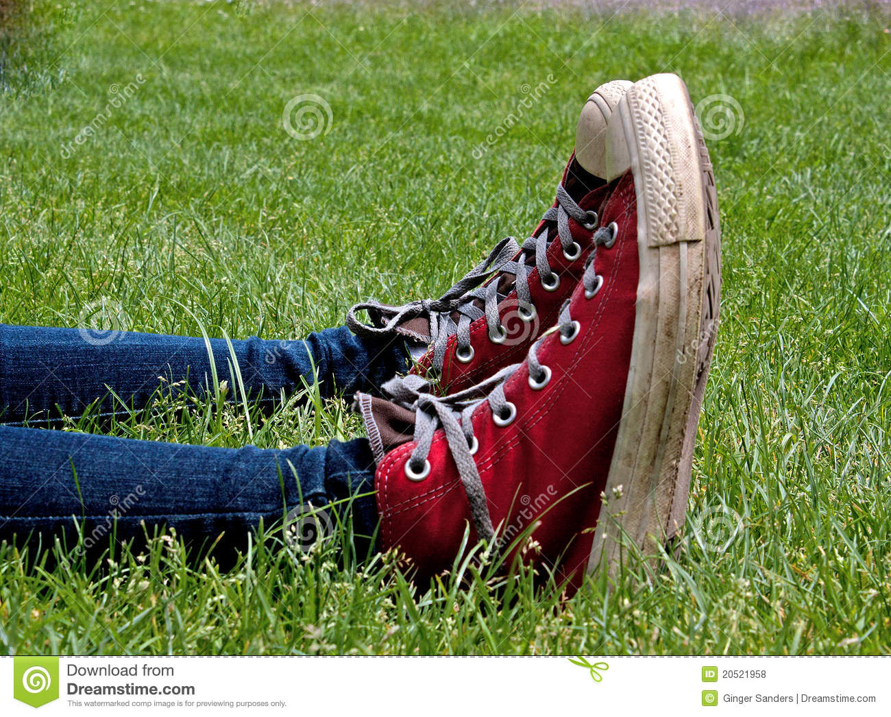 Parallel Red High Top Tennis Shoes in Green Grass