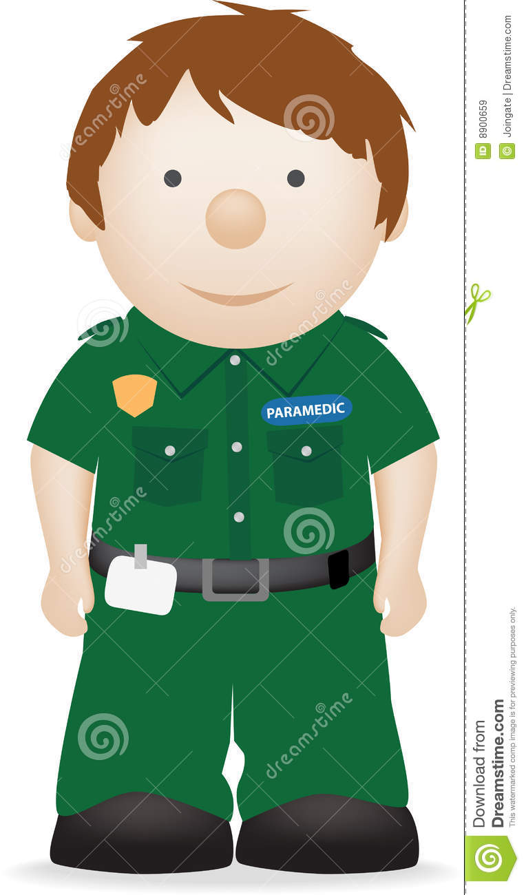 Vector character illustration of a smiling paramedic.
