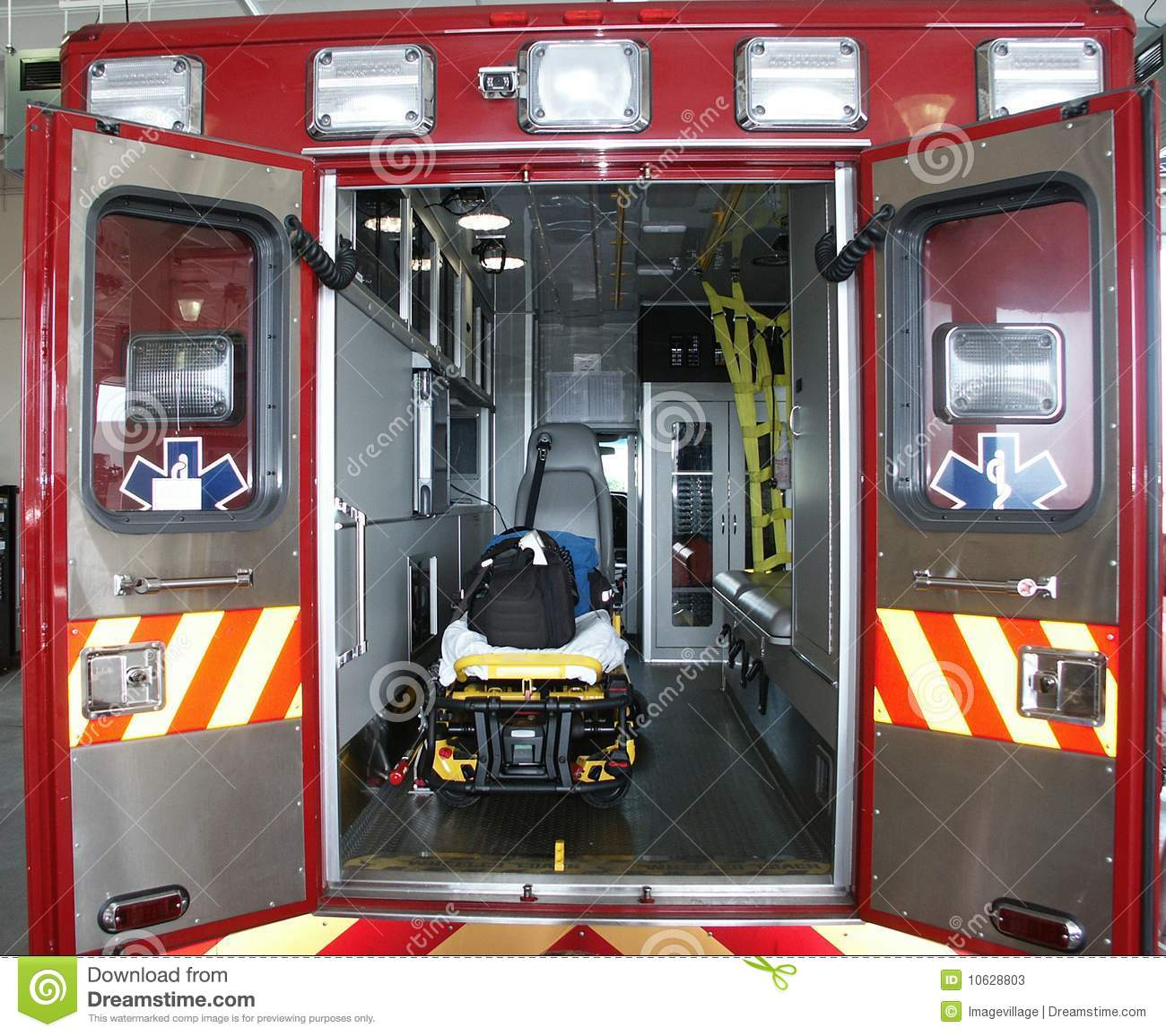 Paramedic's Truck With Open Back Doors Stock Image - Image