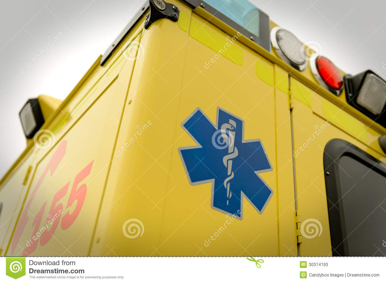 Paramedic Symbol And Phone Number Emergency Truck Stock Image