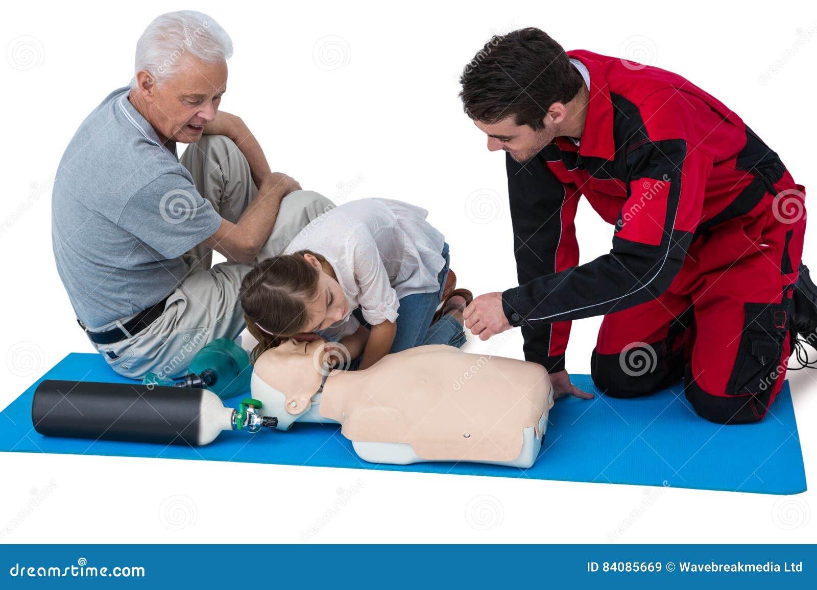 Download Paramedic Training Cardiopulmonary Resuscitation To Senior Man And Girl Stock Image - Image of mature, child: 84085669