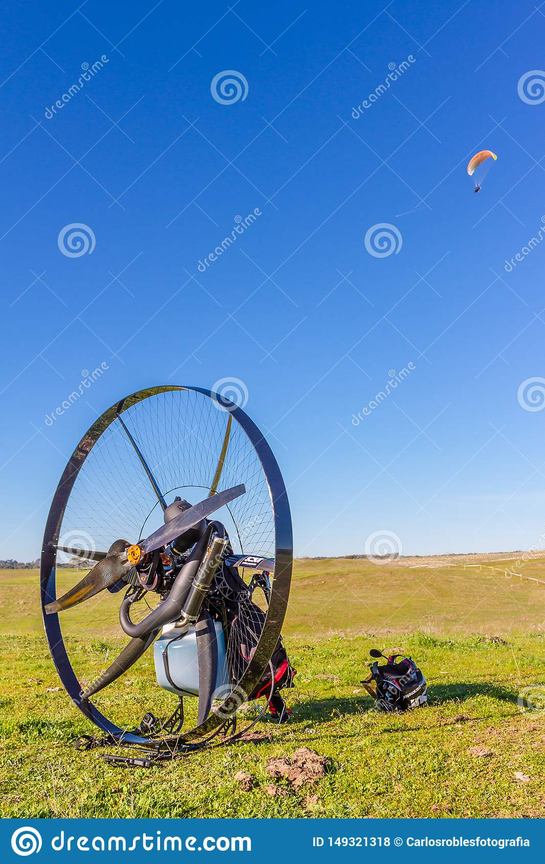 Paramotor basket in the field