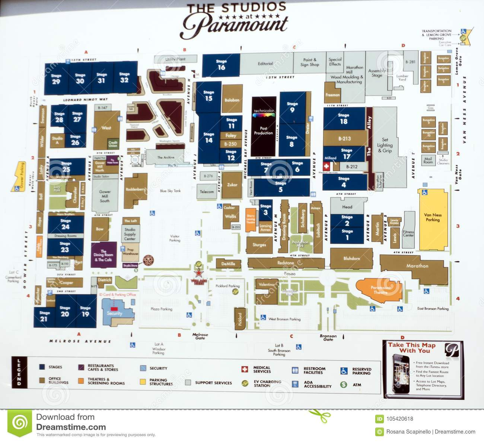 Map Of California Hollywood.Paramount Studios Map At Paramount Pictures Hollywood Tour On The
