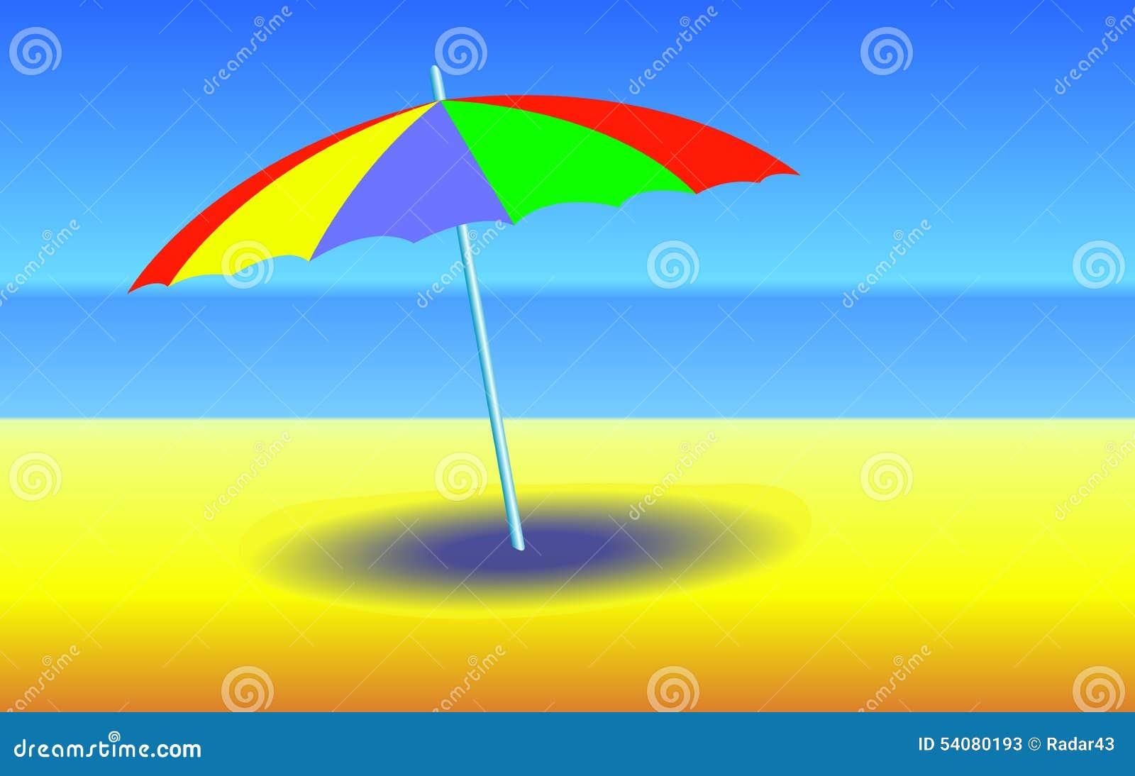 Paraplu op zonnig strand