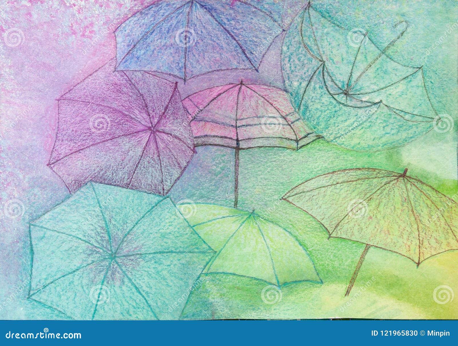 Paraplubehang - Abstracte Achtergrond - het Originele Schilderen