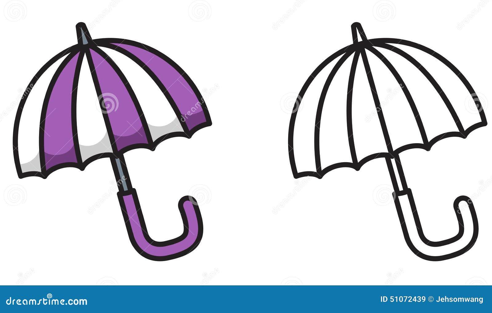 Parapluie color et noir et blanc pour livre de coloriage - Parapluie dessin ...