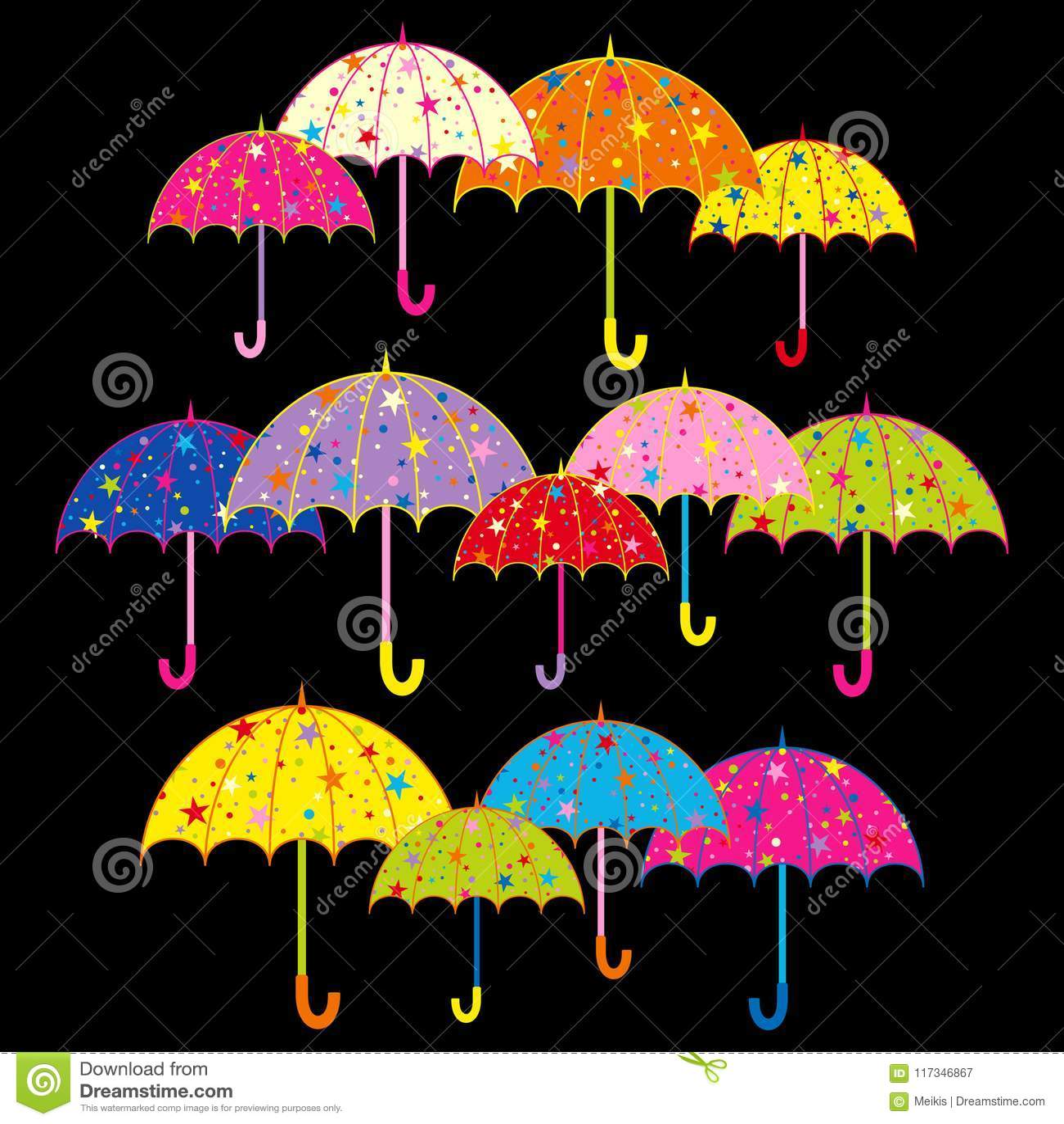Parapluie coloré sur le fond noir