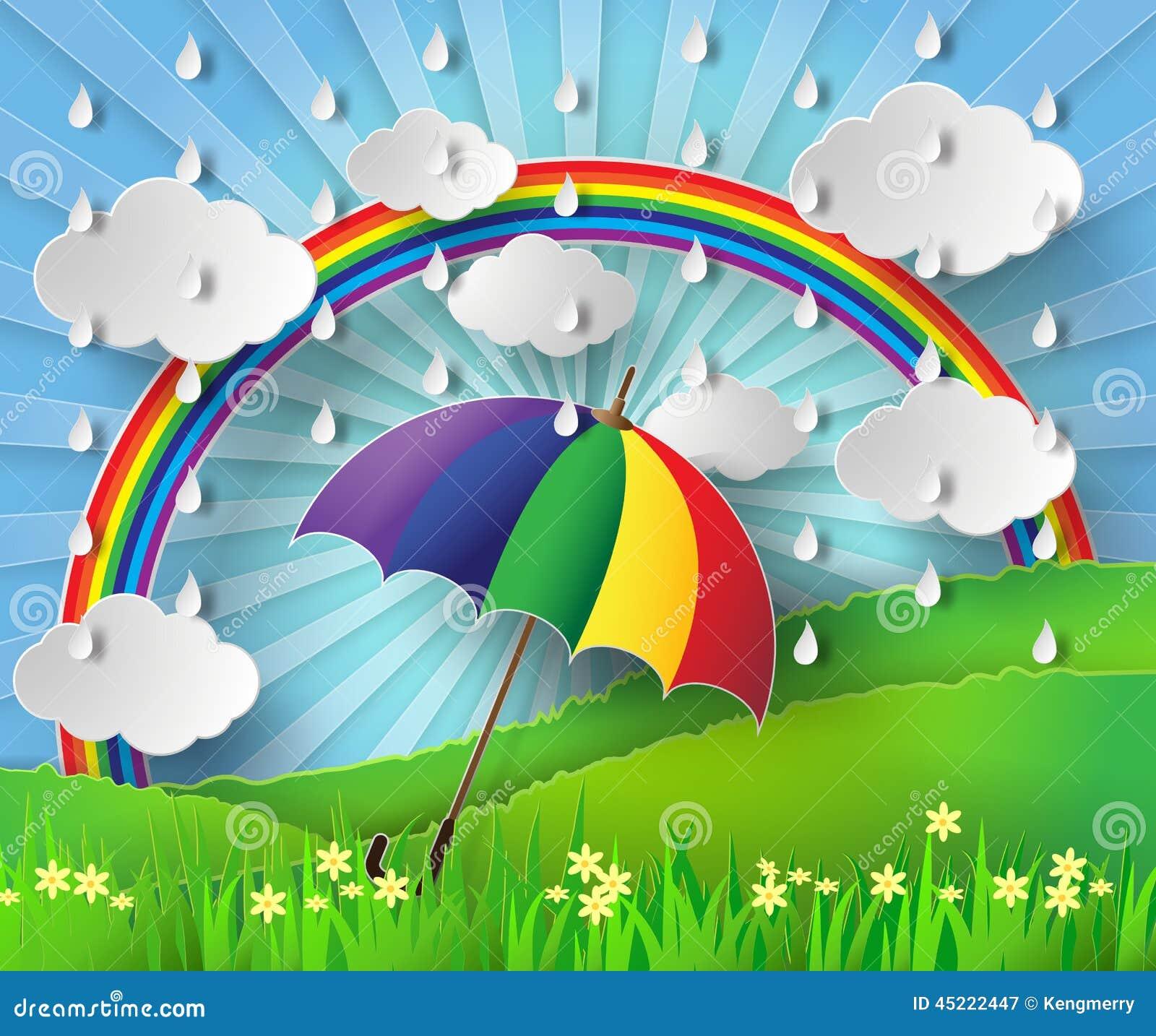 parapluie color sous la pluie avec l arc en ciel - Parapluie Color