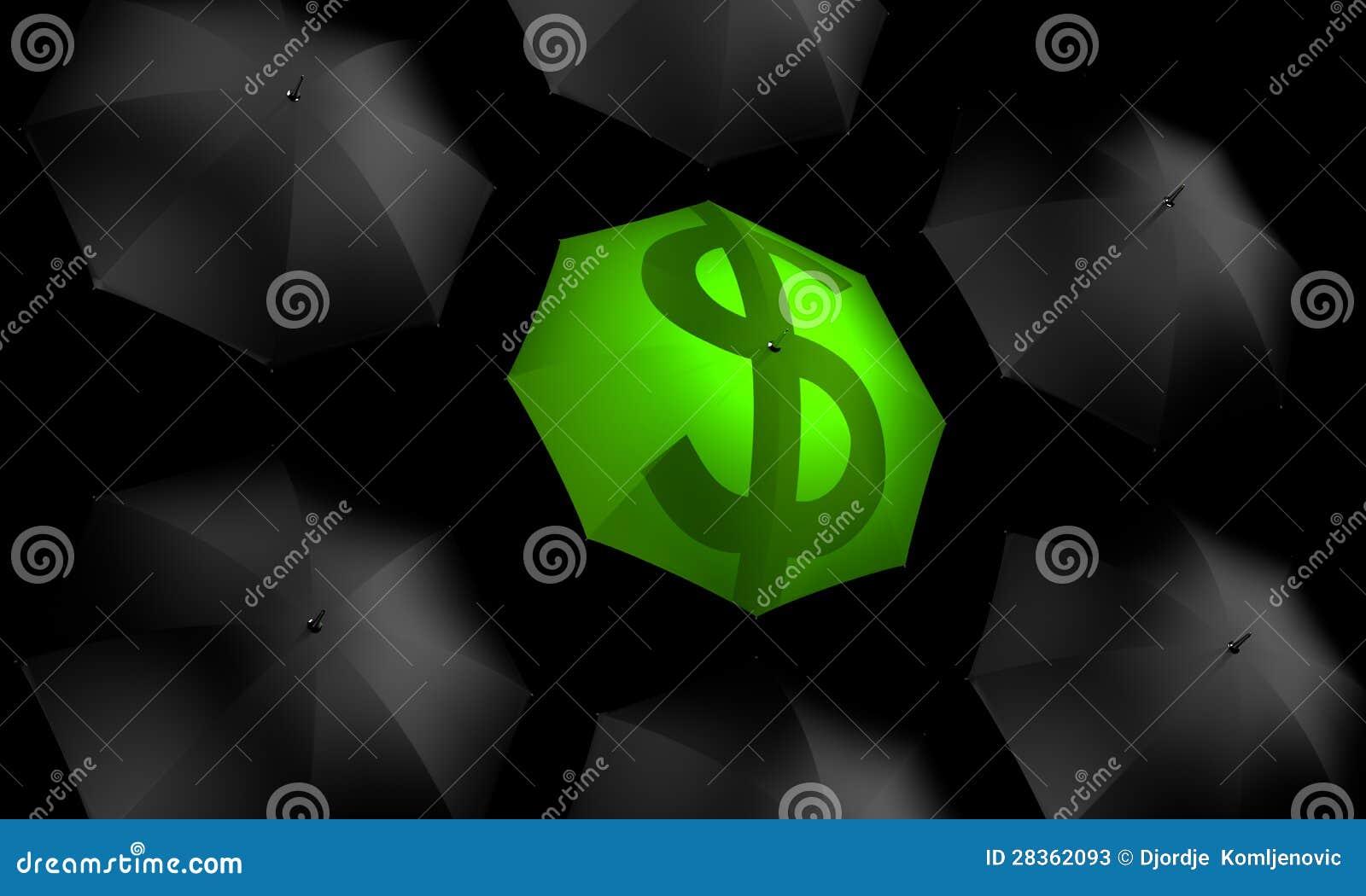 Parapluie du dollar restant à l extérieur