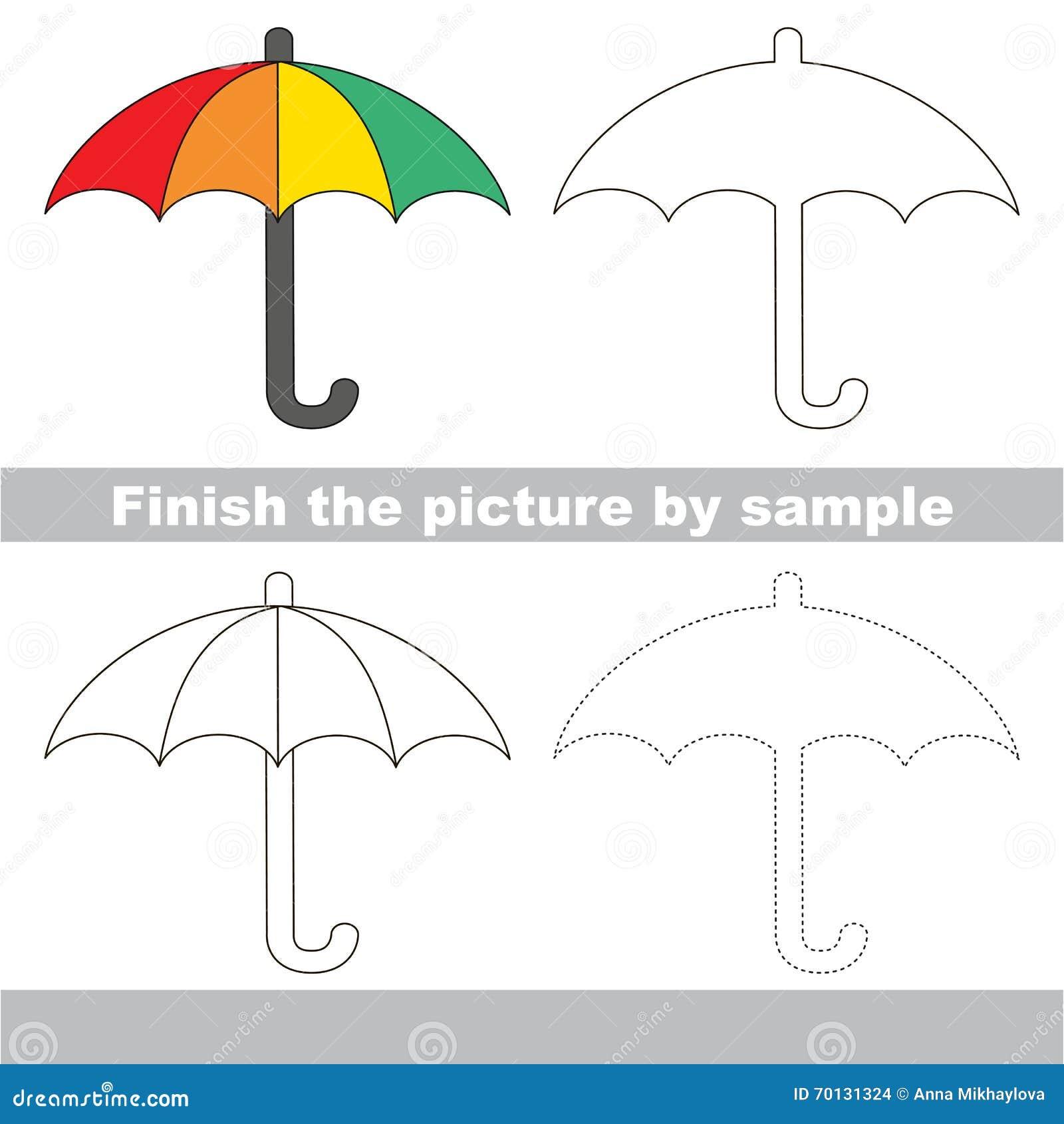 Fiche de travail de dessin pour des enfants finissez la photo et dessinez le parapluie mignon