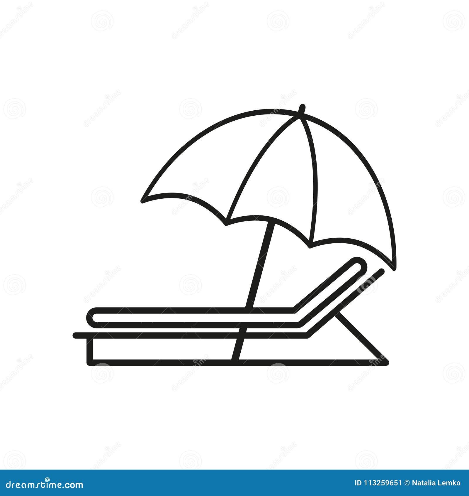 Paraply med sunbed symboler