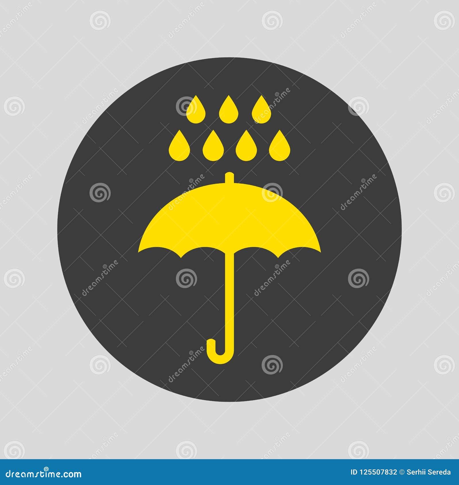 Paraply- och regnsymbol på grå bakgrund