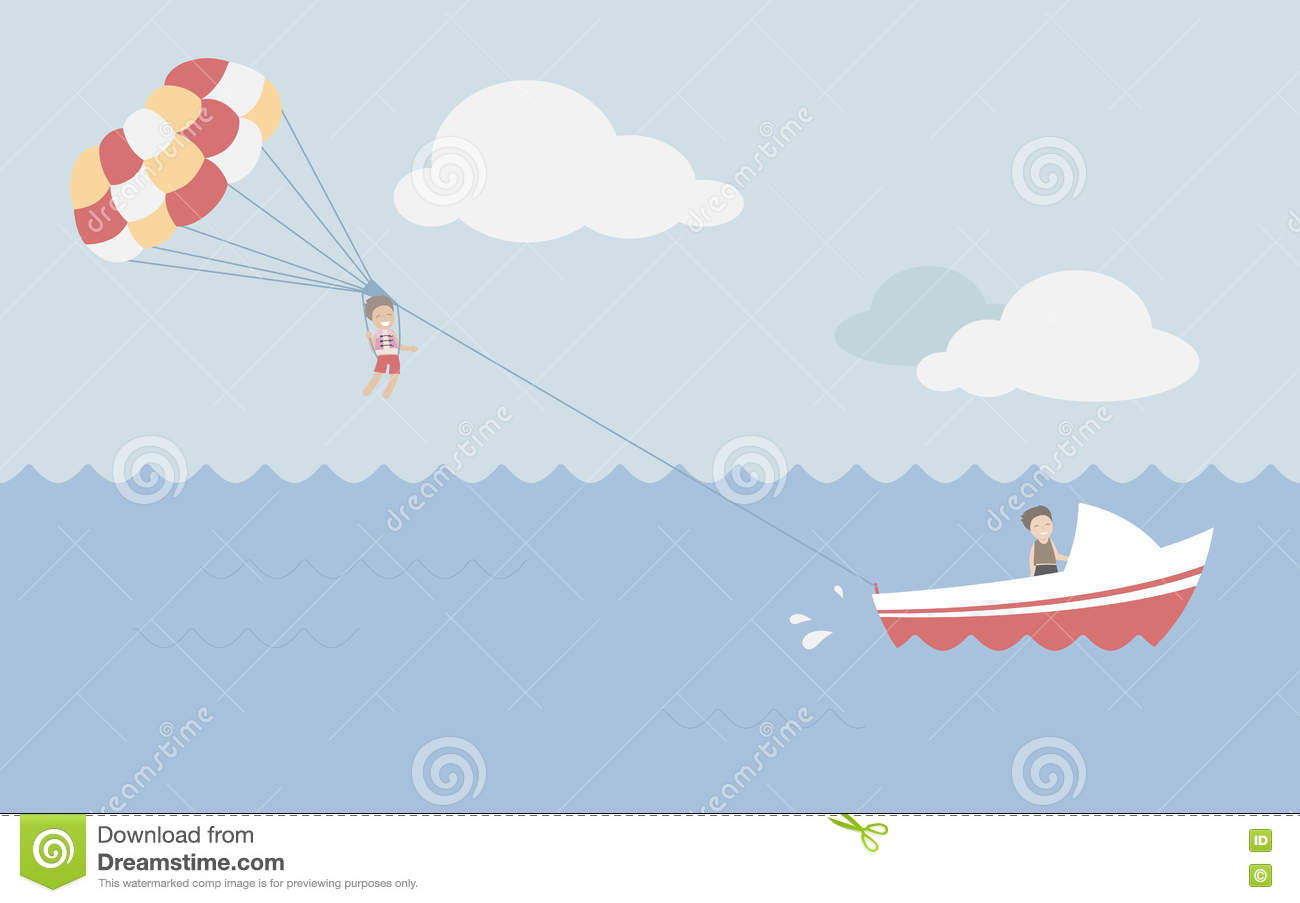 Parasailing in summer stock illustration. Illustration of ...