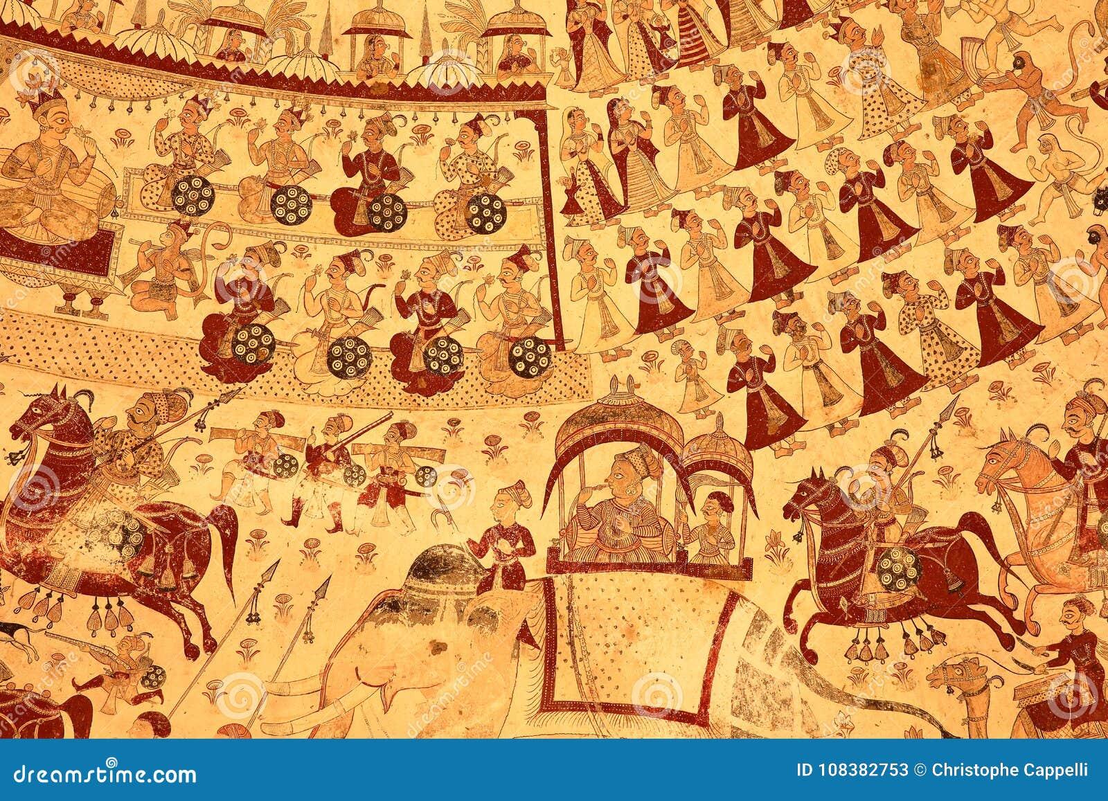 PARASARAMPURA, RAJASTHÁN, LA INDIA - 27 DE DICIEMBRE DE 2017: Frescos antiguos en Sardul Singh Cenotaph