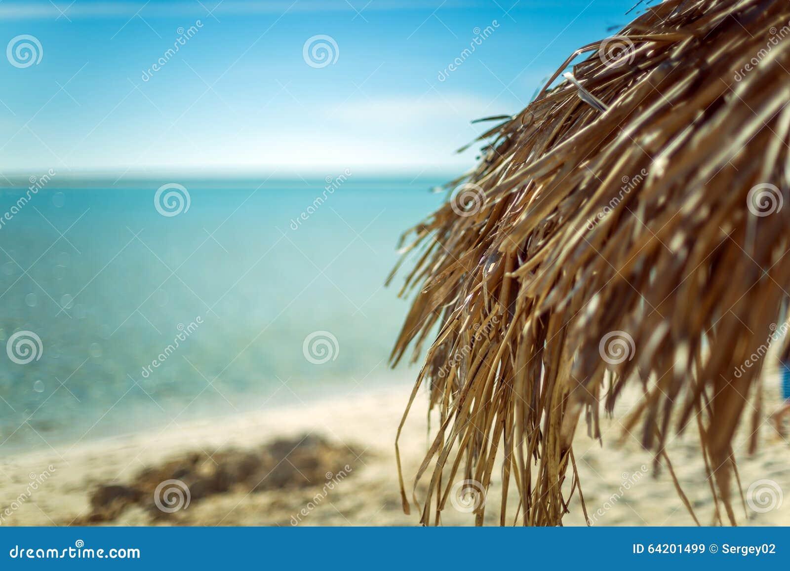 Parasol de playa hecho de las hojas de palma en la playa exótica