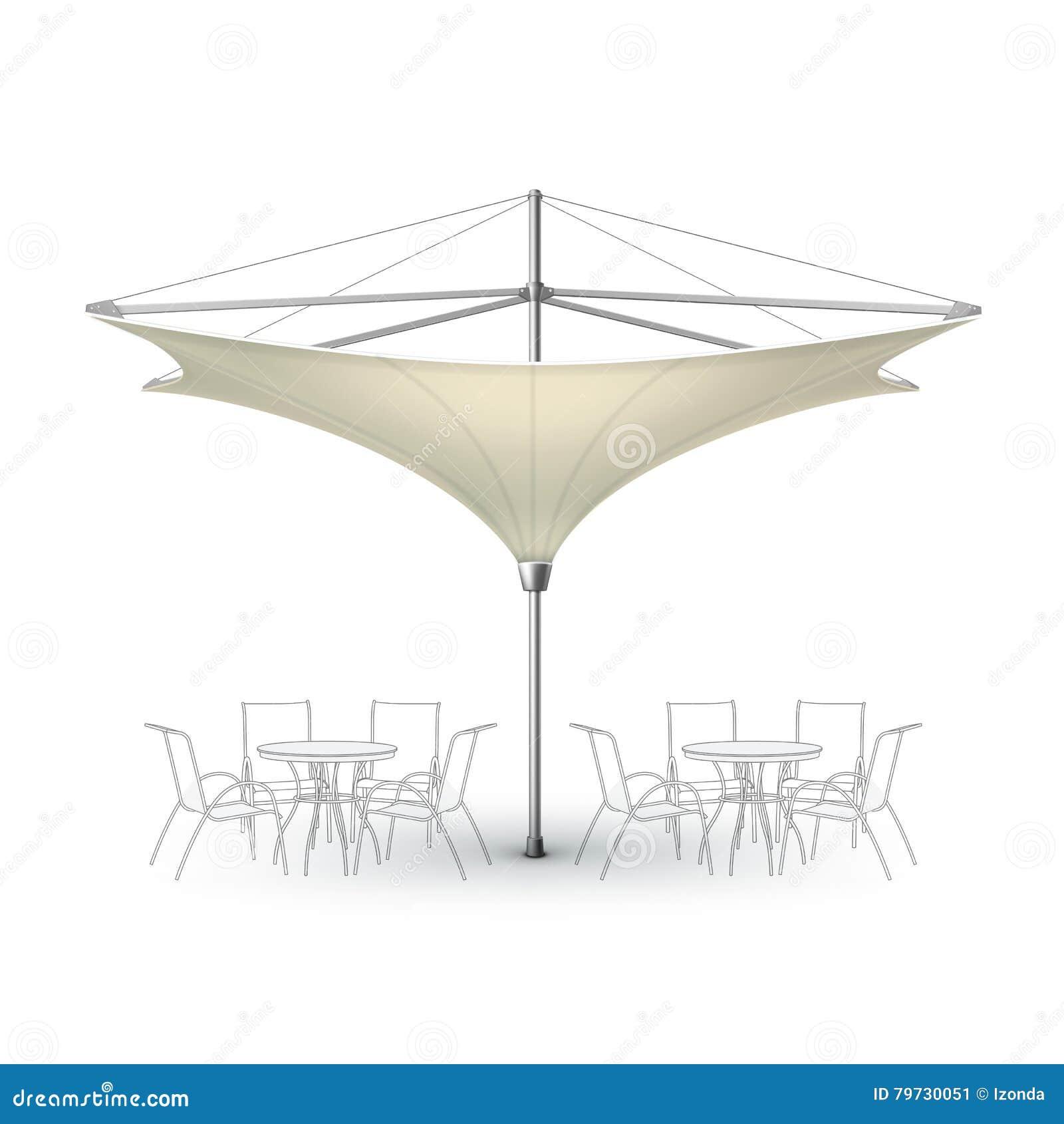 Parasol en blanco del paraguas del restaurante del salón de Inversed