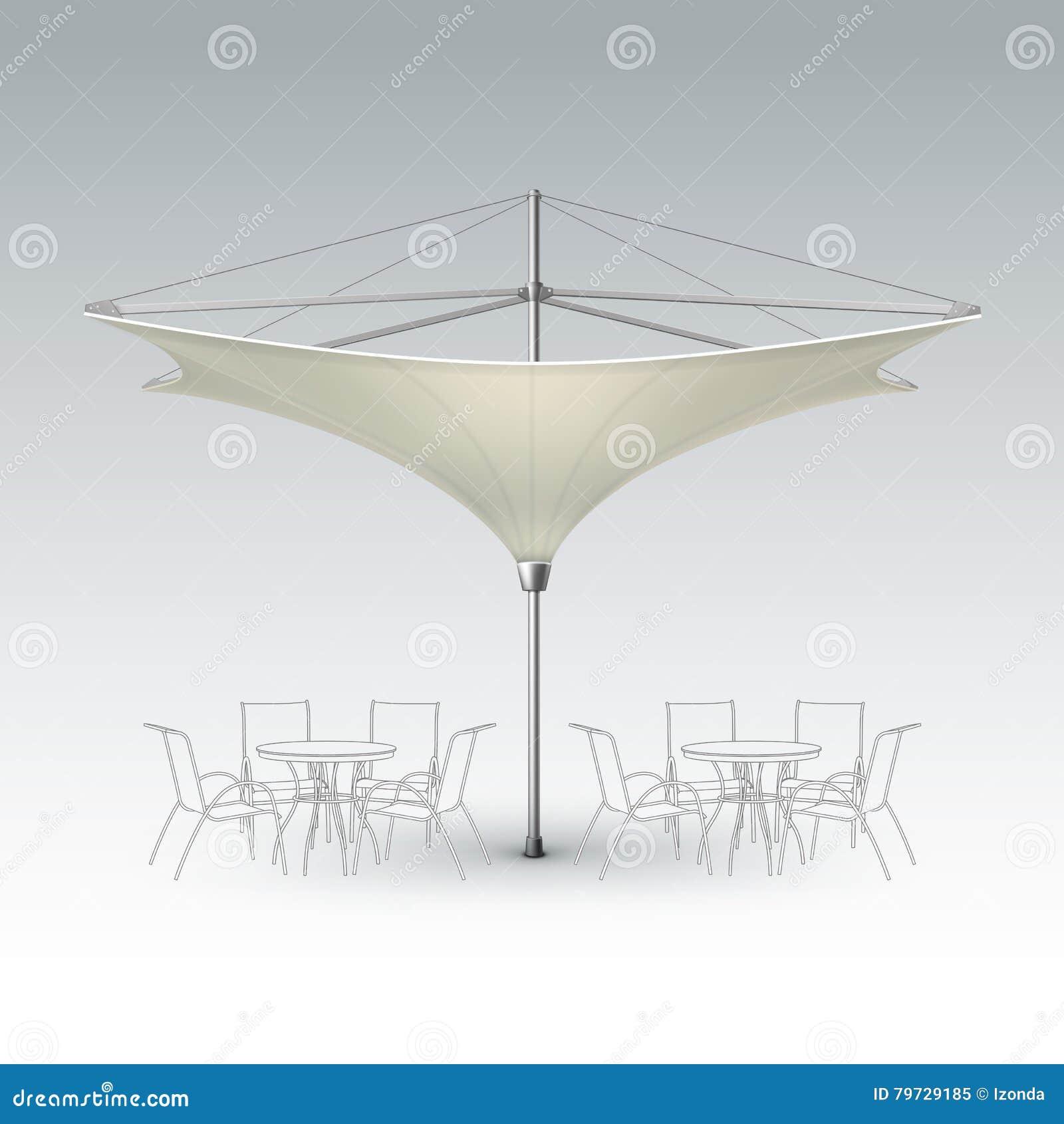 Parasol exterior bege do café de Inversed para marcar