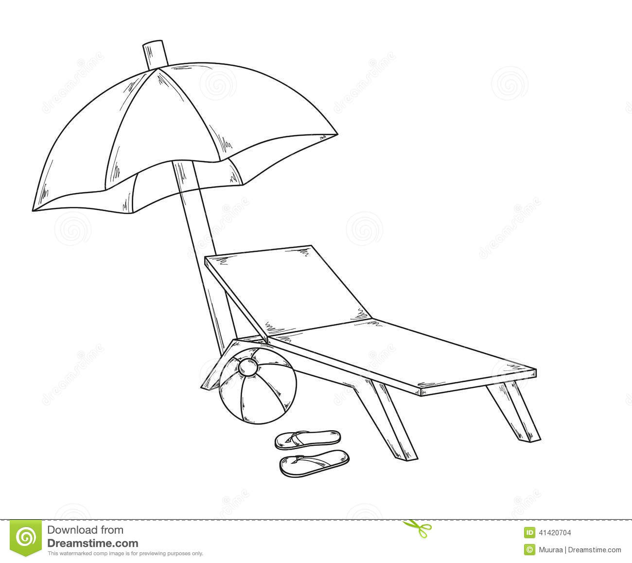 Beach chair and parasol vector illustration stock vector image - Parasol Flops Ball And Chair Stock Vector Image 41420704