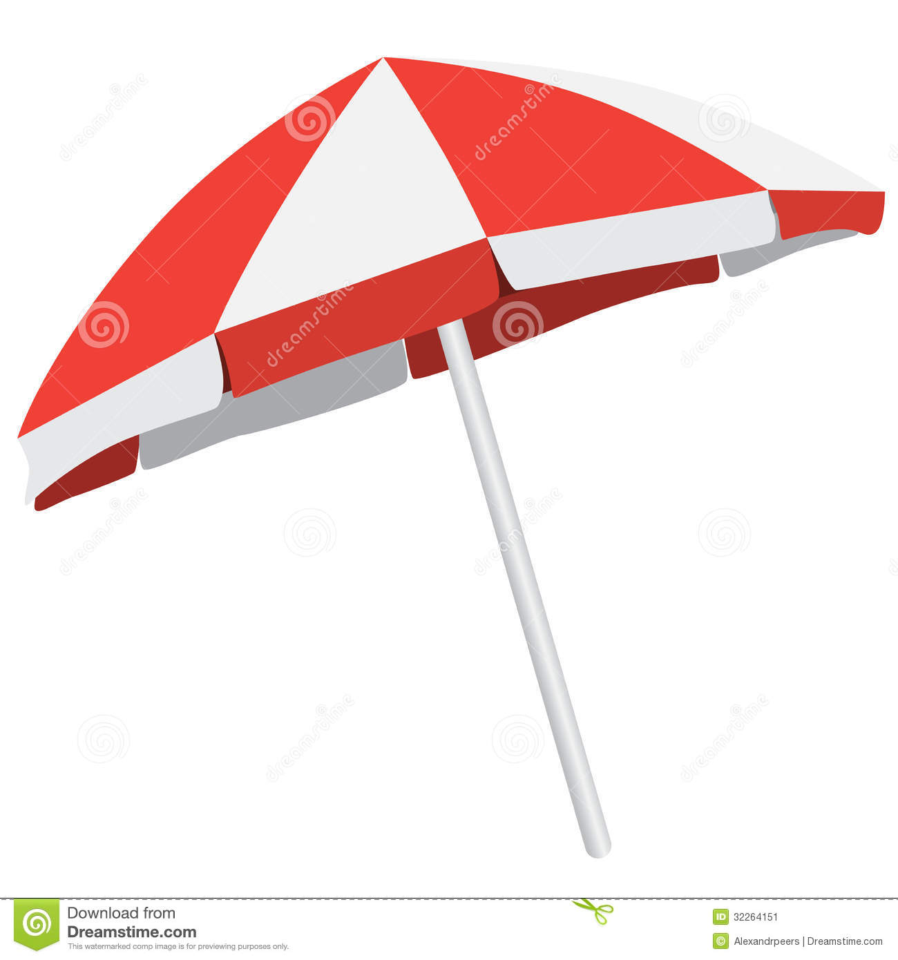 Illustration of of colorful beach umbrella. Vector isolated parasol.