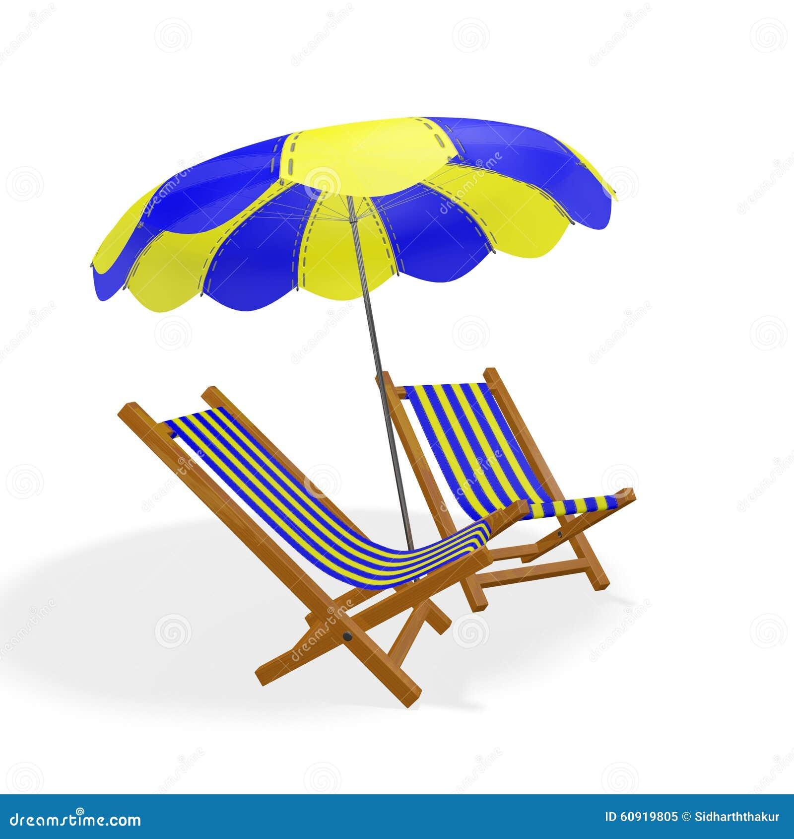 Parasol jaune bleu de chaises de plage illustration stock - Chaises de plage ...