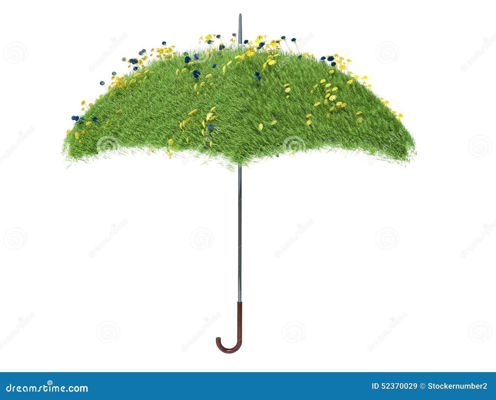 Parasol zakrywający z zieloną trawą pojedynczy białe tło