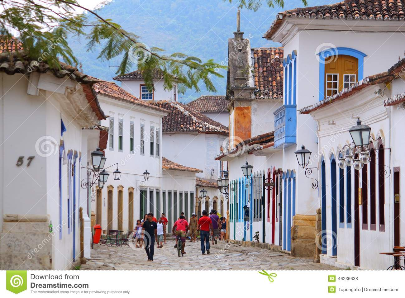 PARATY, BRAZIL - OCTOBER 14, 2014: People walk in the Old Town of ...