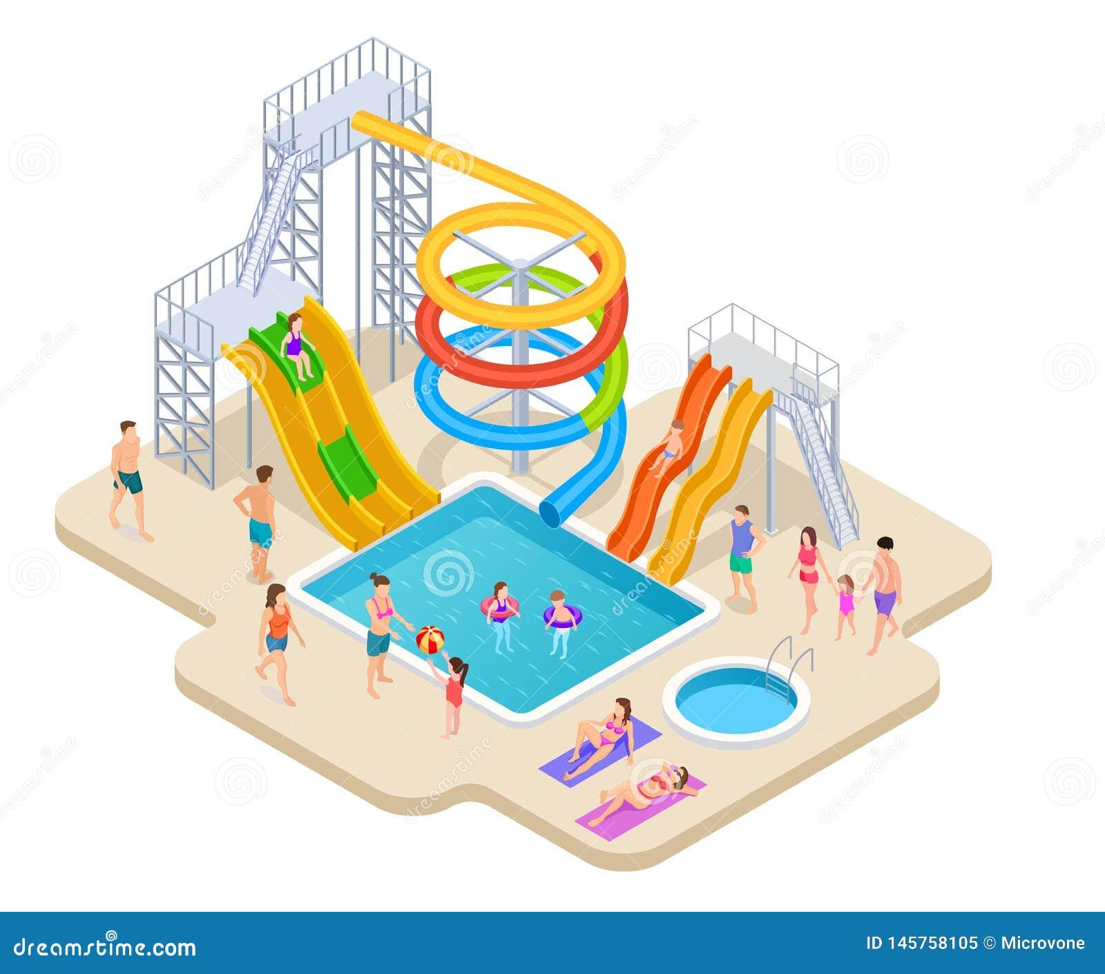 Parc aquatique isométrique Les enfants d Aquapark glissent le jeu de loisirs de piscine d activités d été de récréation d aqua de