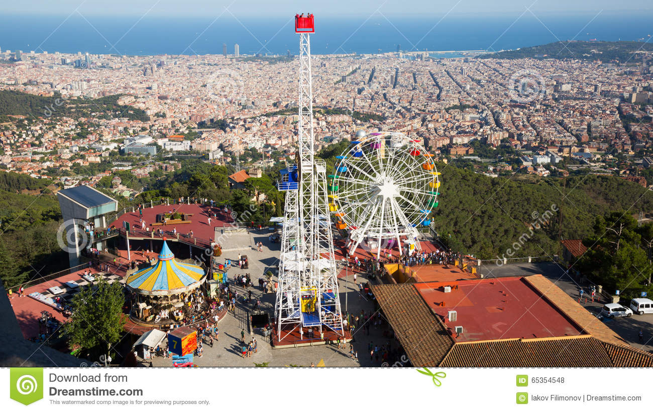 parc d 39 attractions de tibidabo barcelone photo stock ditorial image du europe horizontal. Black Bedroom Furniture Sets. Home Design Ideas