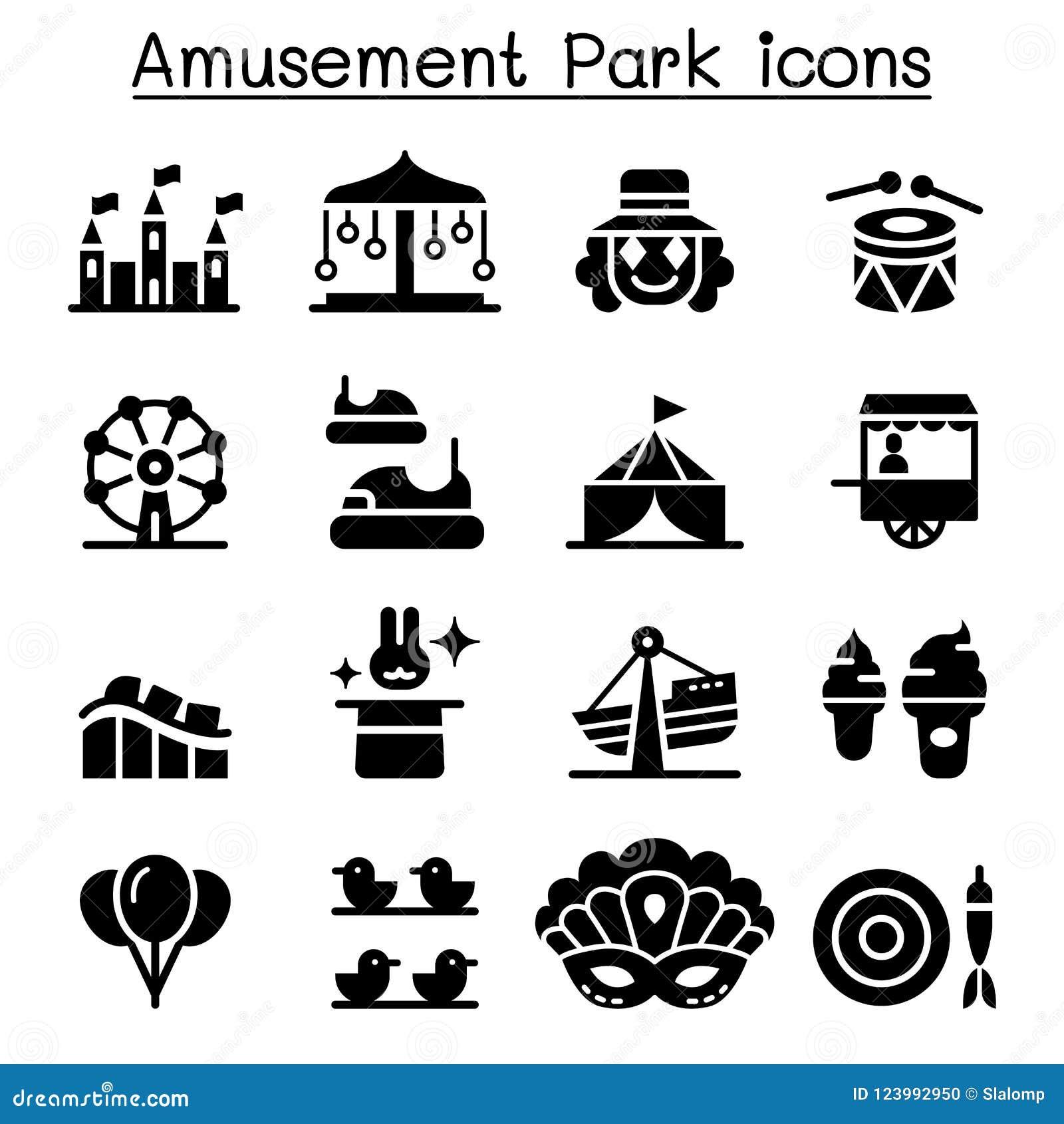 Parc d attractions et ensemble d icône de festival