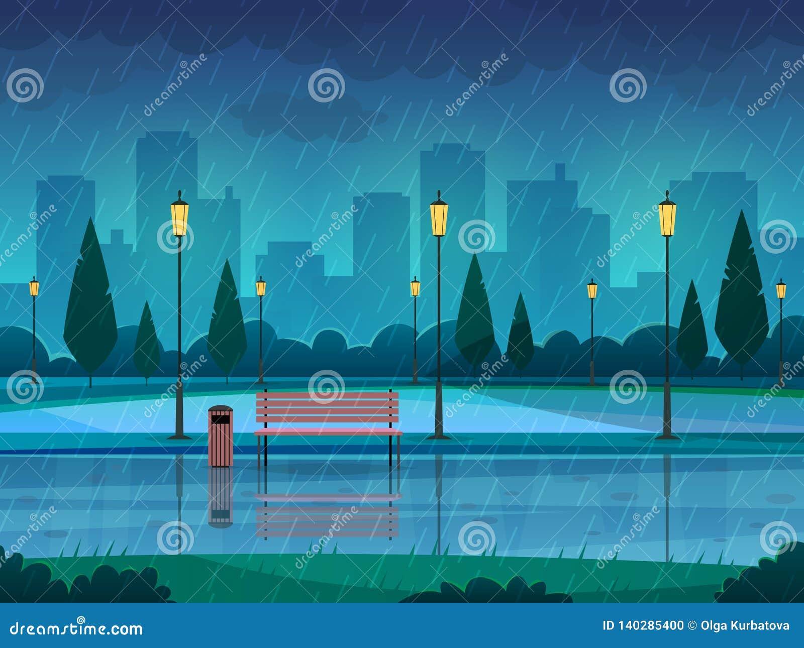 Parc de jour pluvieux Pleuvoir le paysage de réverbère de banc de chemin de saison de nature de ville de pluie de parc public, fo
