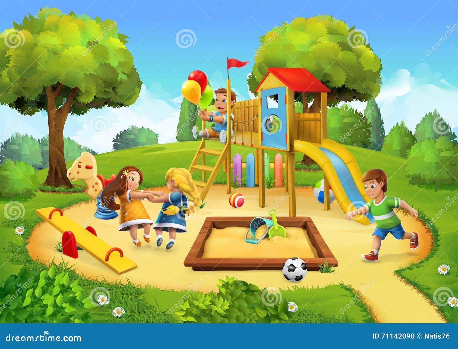 parc fond de terrain de jeu illustration de vecteur illustration du dessin enfance 71142090. Black Bedroom Furniture Sets. Home Design Ideas