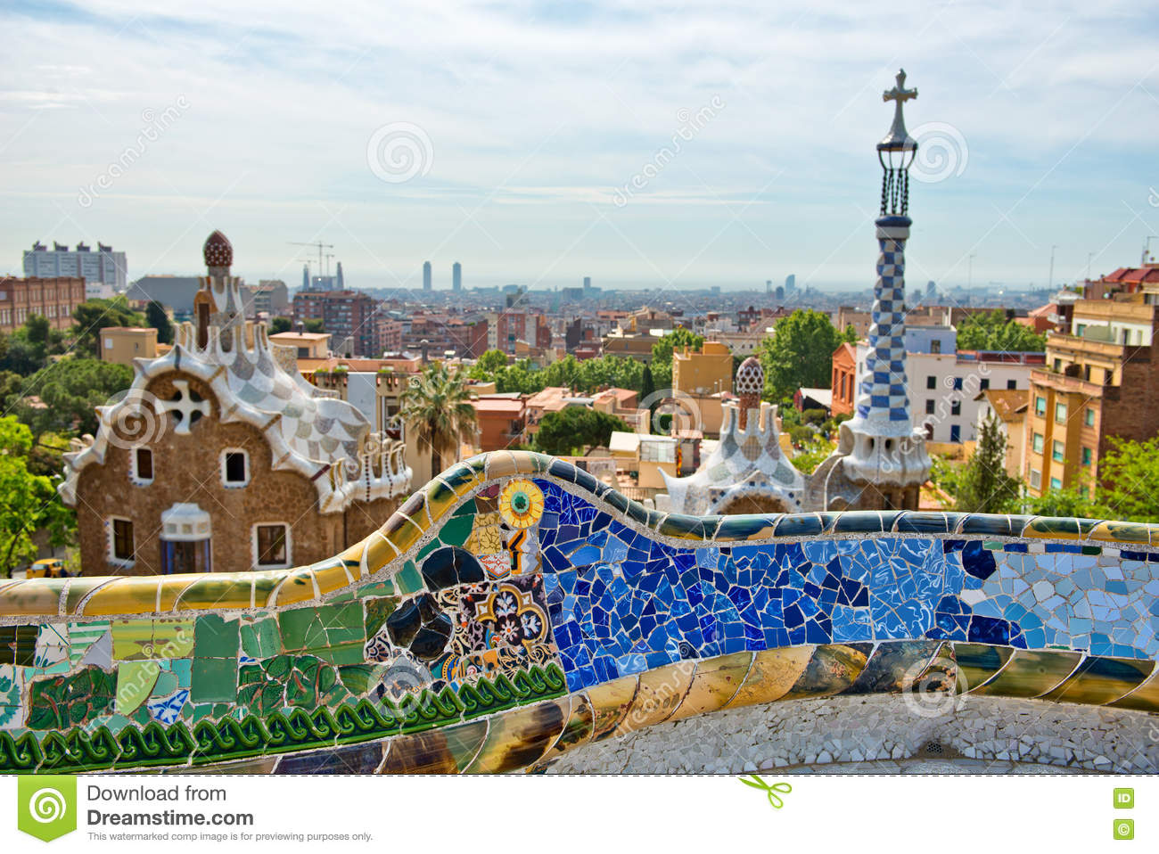 Parc Guell, Barcelona, Spain By Antoni Gaudi Editorial ...