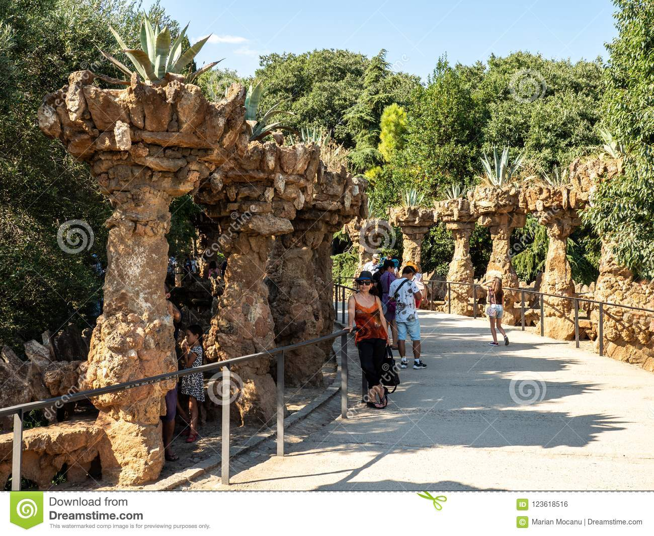Parc Guell in Barcelona, Spain, architect Antoni Gaudi