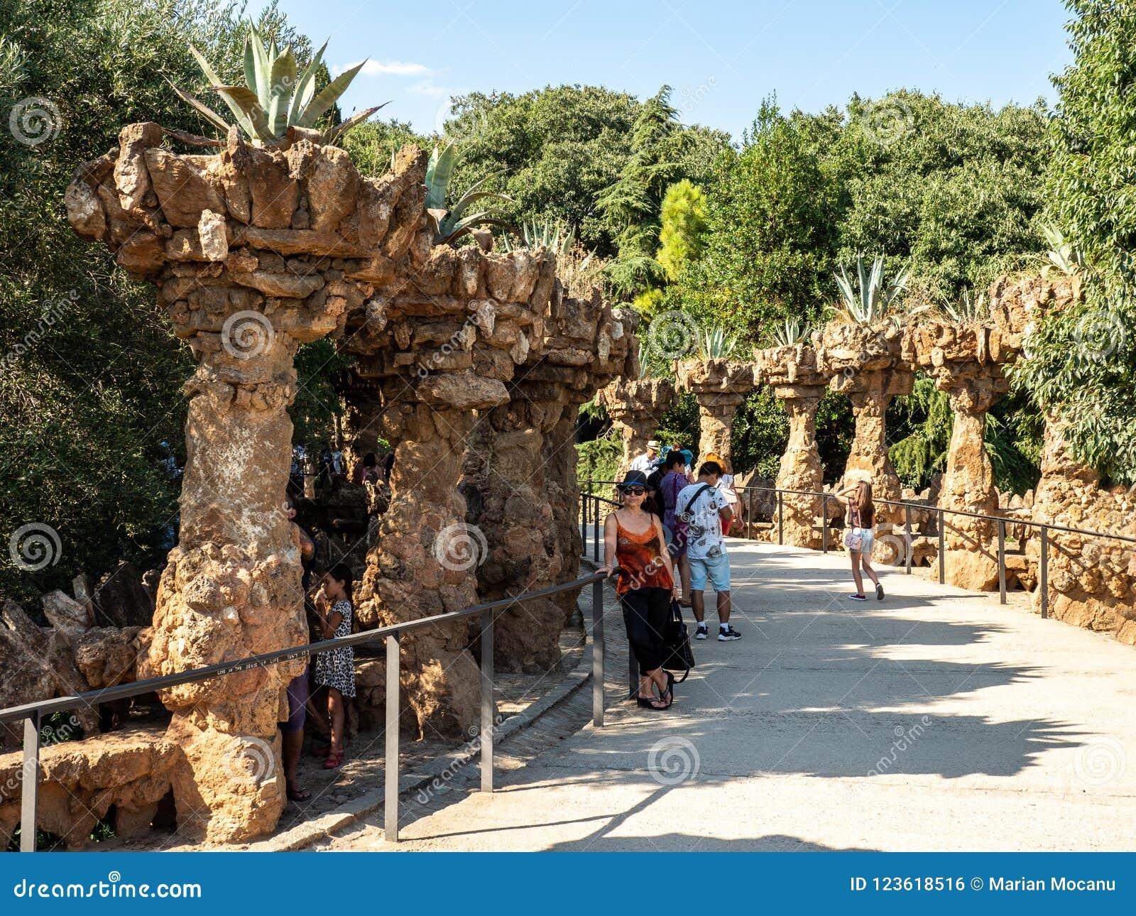 Parc Guell i Barcelona, Spanien, arkitekt Antoni Gaudi
