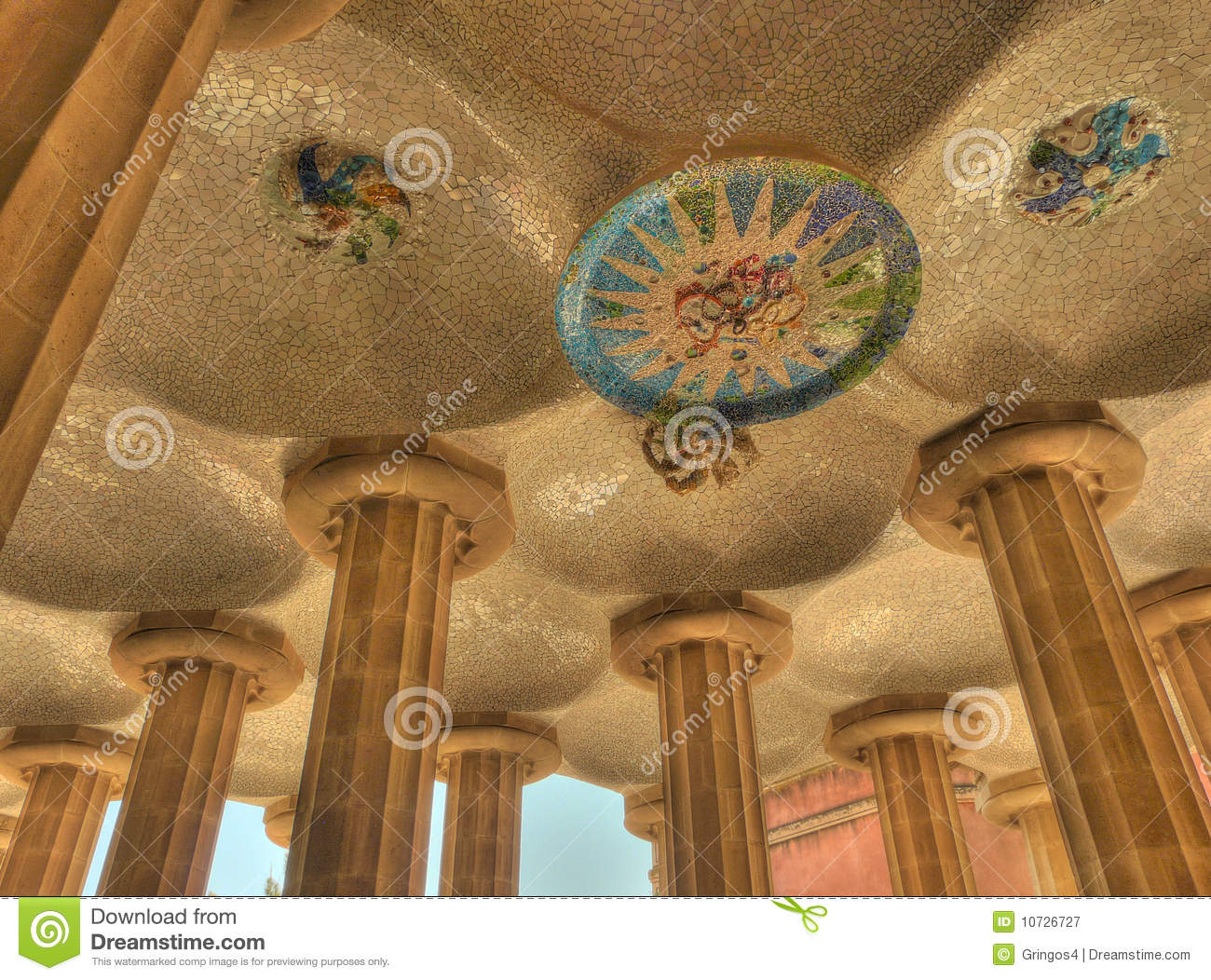 Parc Guell Mosaic Art Ceiling Barcelona Spain Stock Image