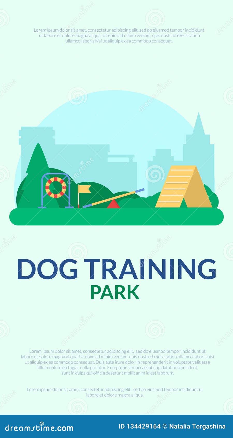 Parc s exerçant de chien Bannière avec l équipement de sport d agilité Vecteur plat