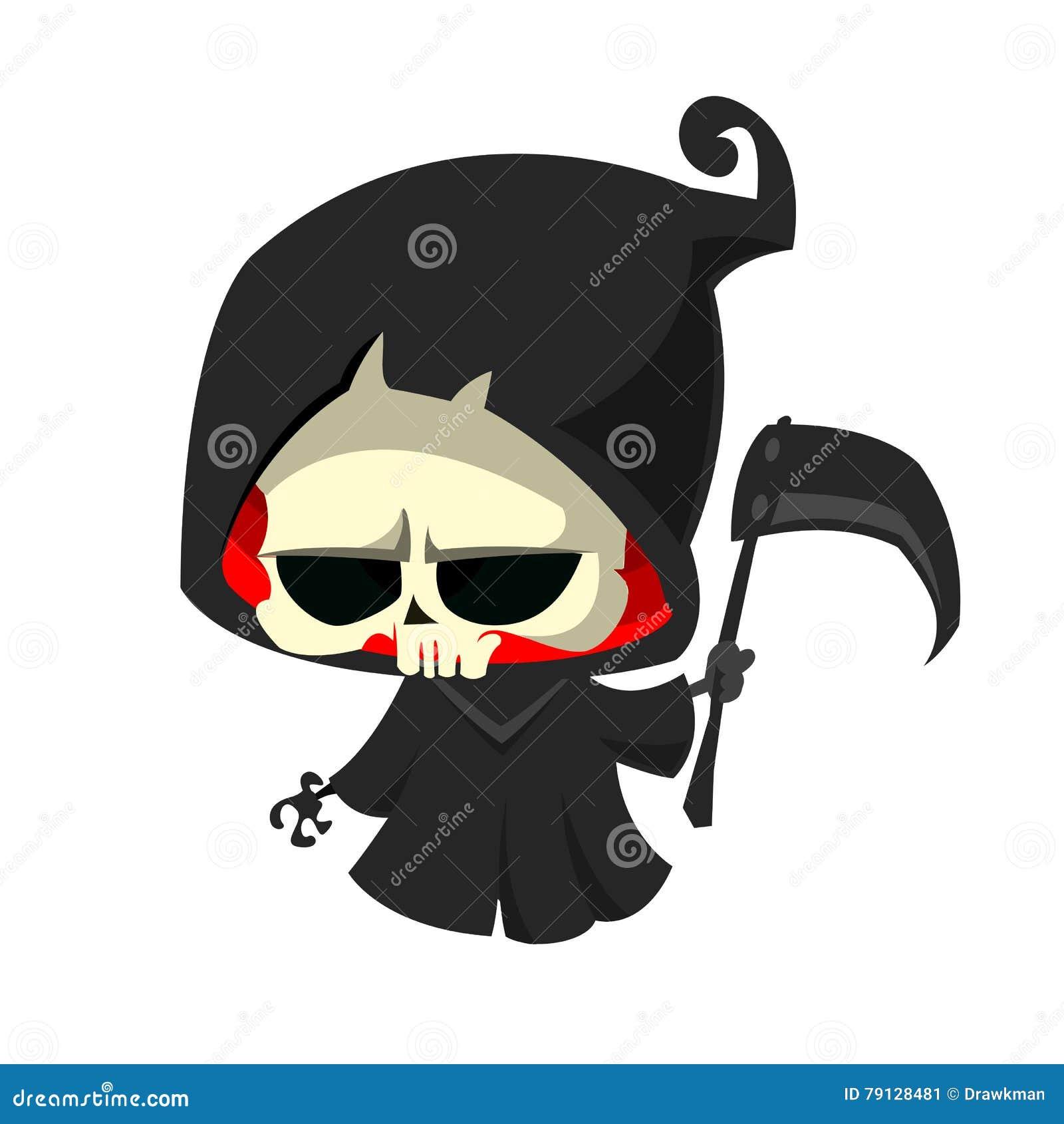 Parca lindo de la historieta con la guadaña en blanco Carácter esquelético lindo de la muerte de Halloween