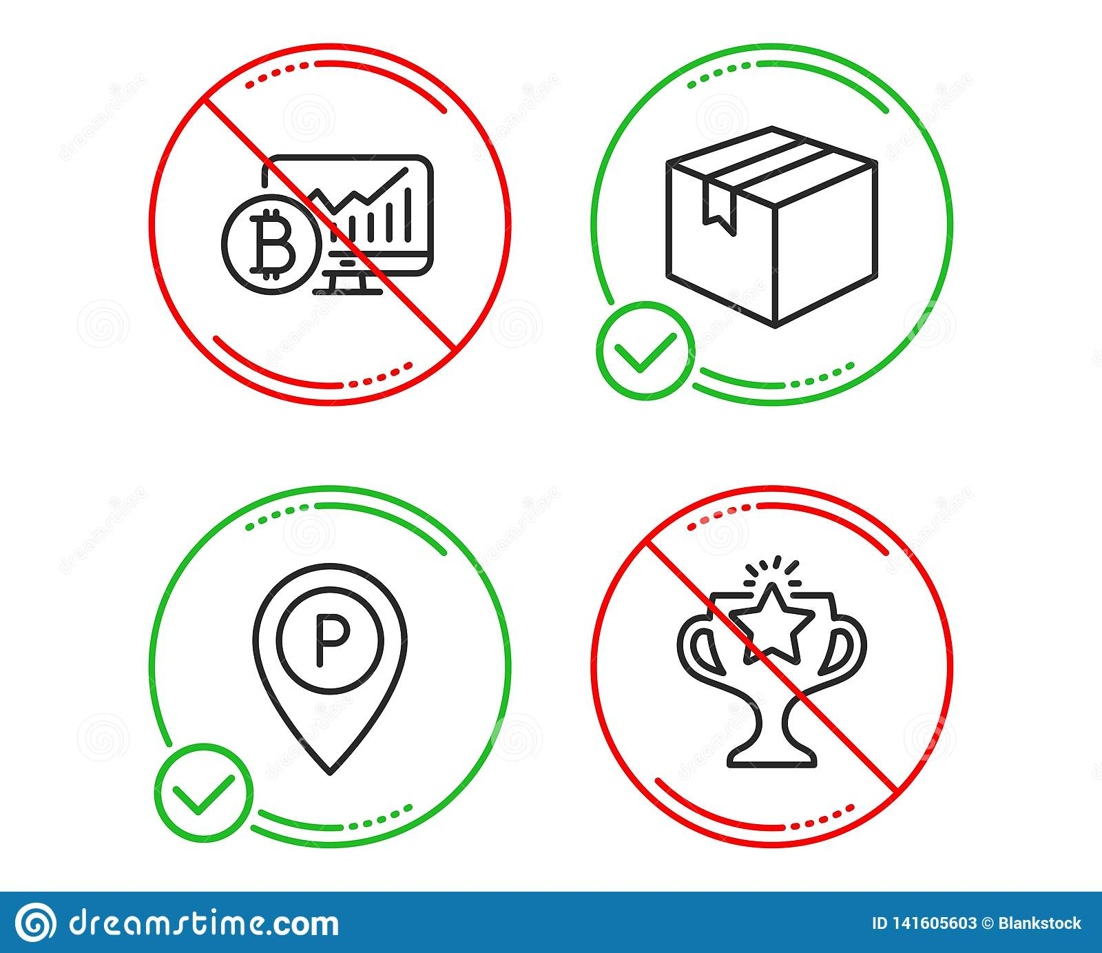 Parcel, Bitcoin Chart And Parking Icons Set  Victory Sign