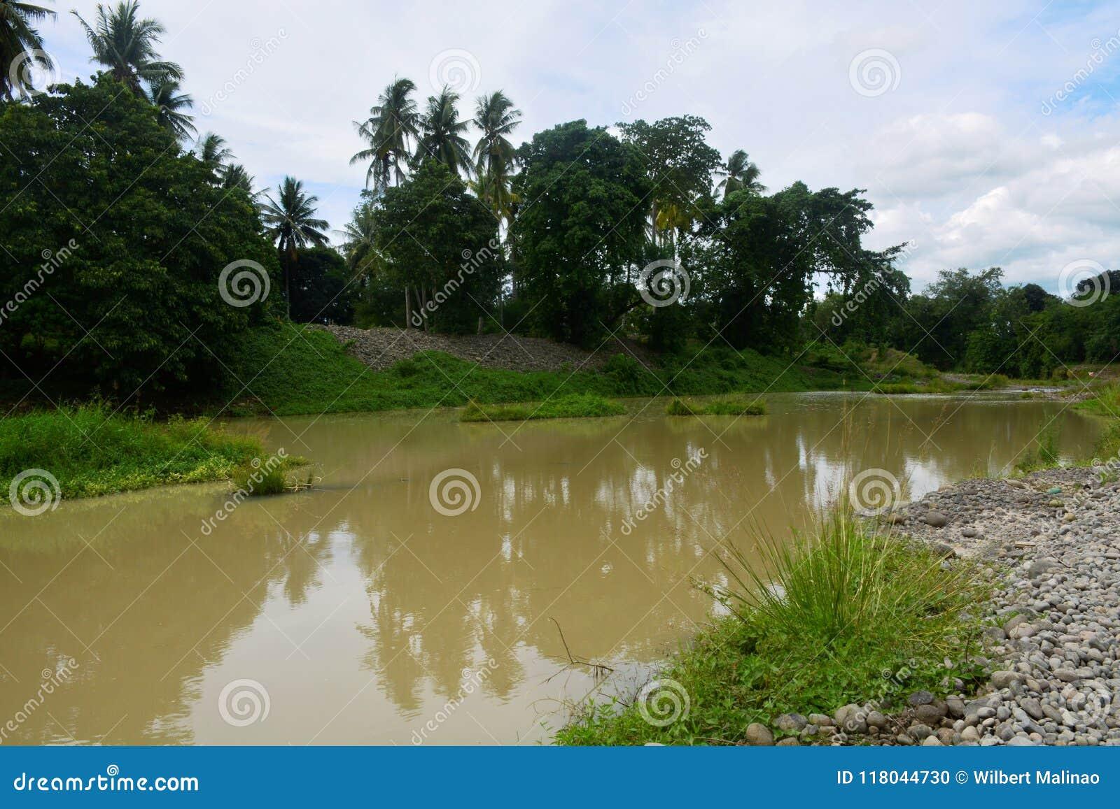 Parcela de Unscraped no rio de Bulatukan, Clarin novo, Bansalan, Davao del Sur, Filipinas