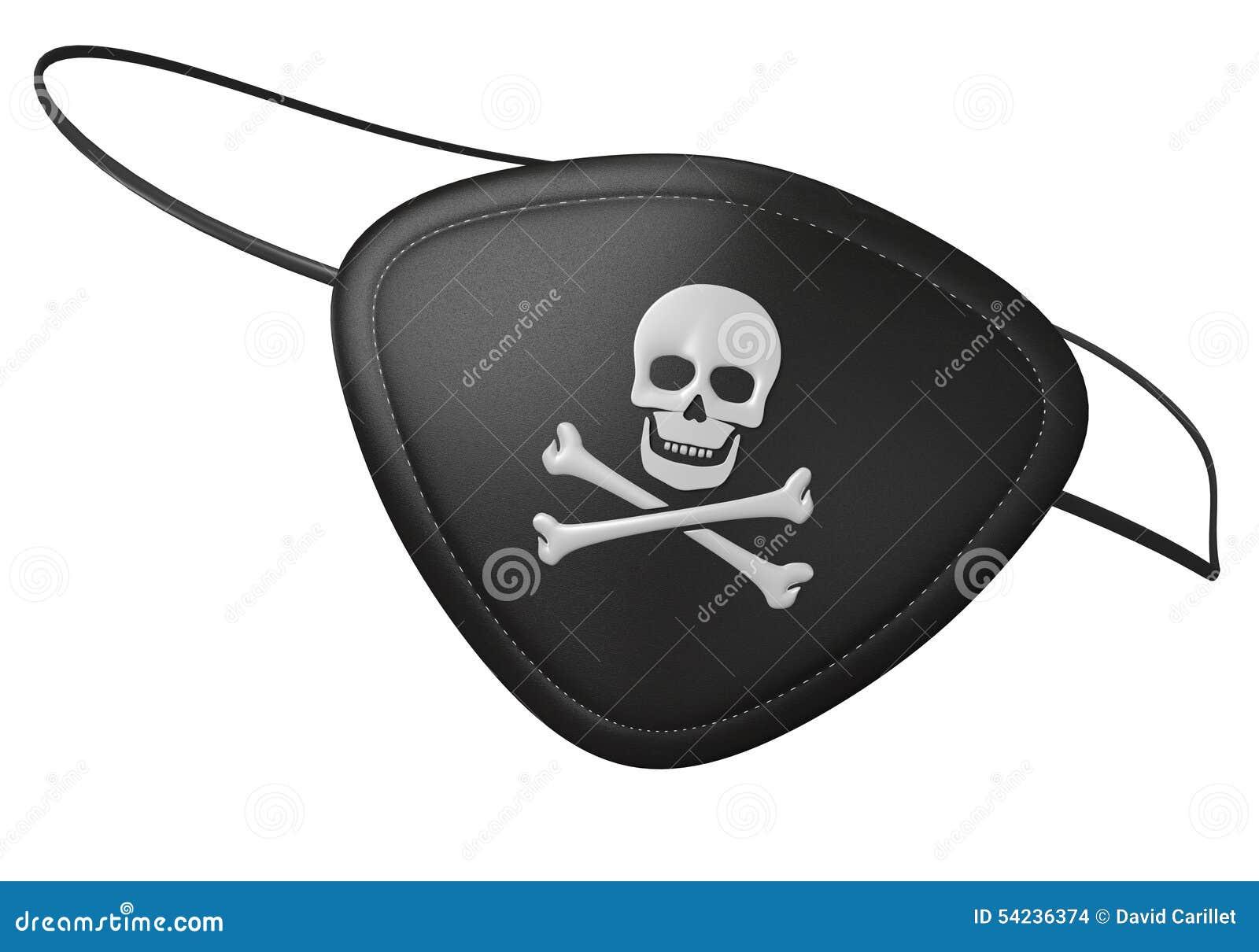 Parche De Ojo De Cuero Negro Del Pirata Con Un Cráneo Asustadizo Y ...