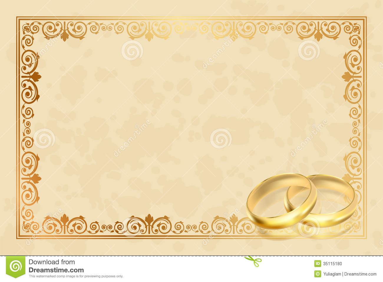 parchment frame with gold rings stock vector