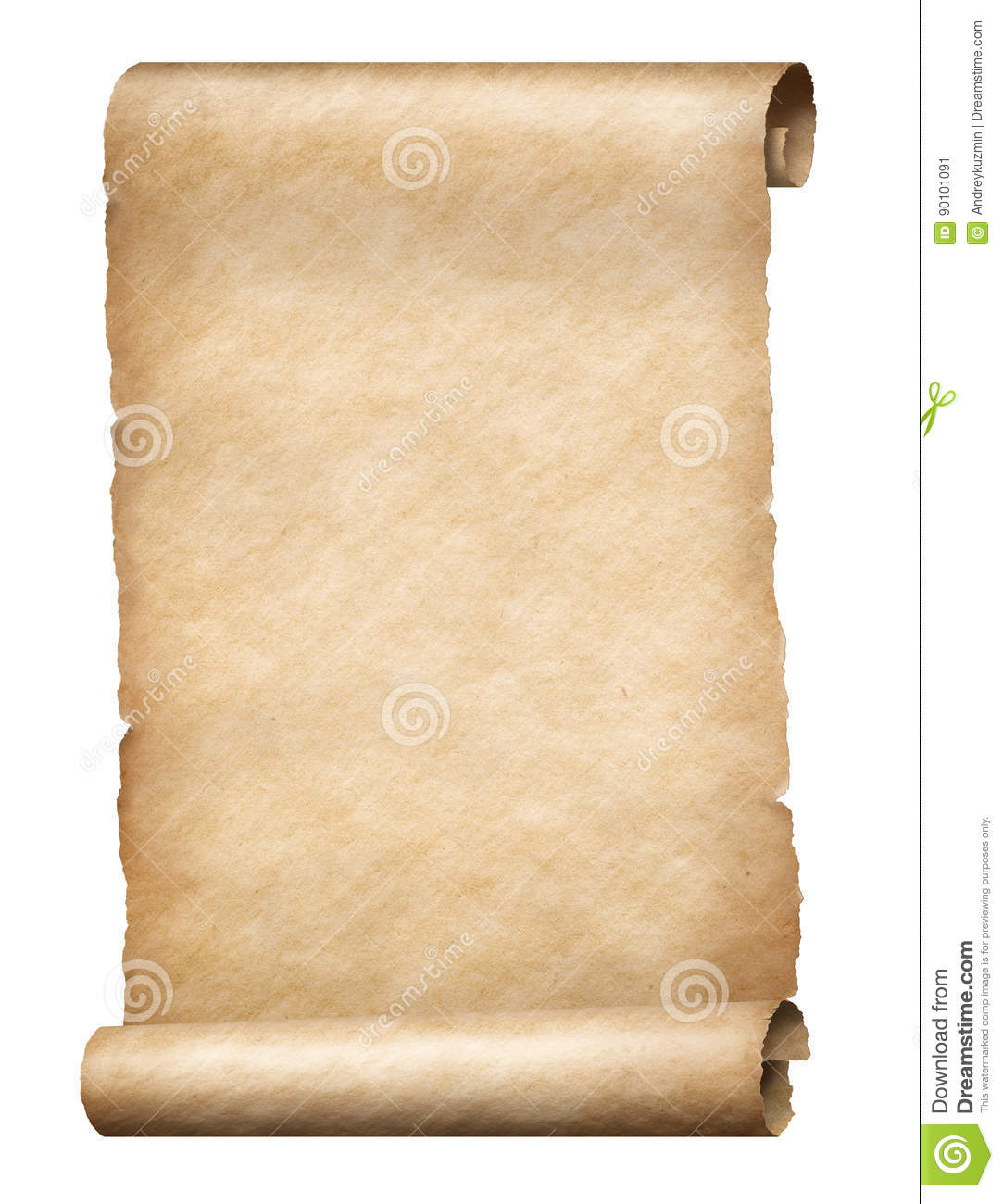 Old Parchment Scroll Isolated Vertically Oriented