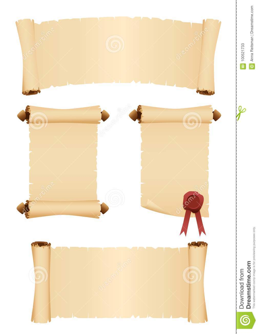 Parchment scrolls. Set of vector banners