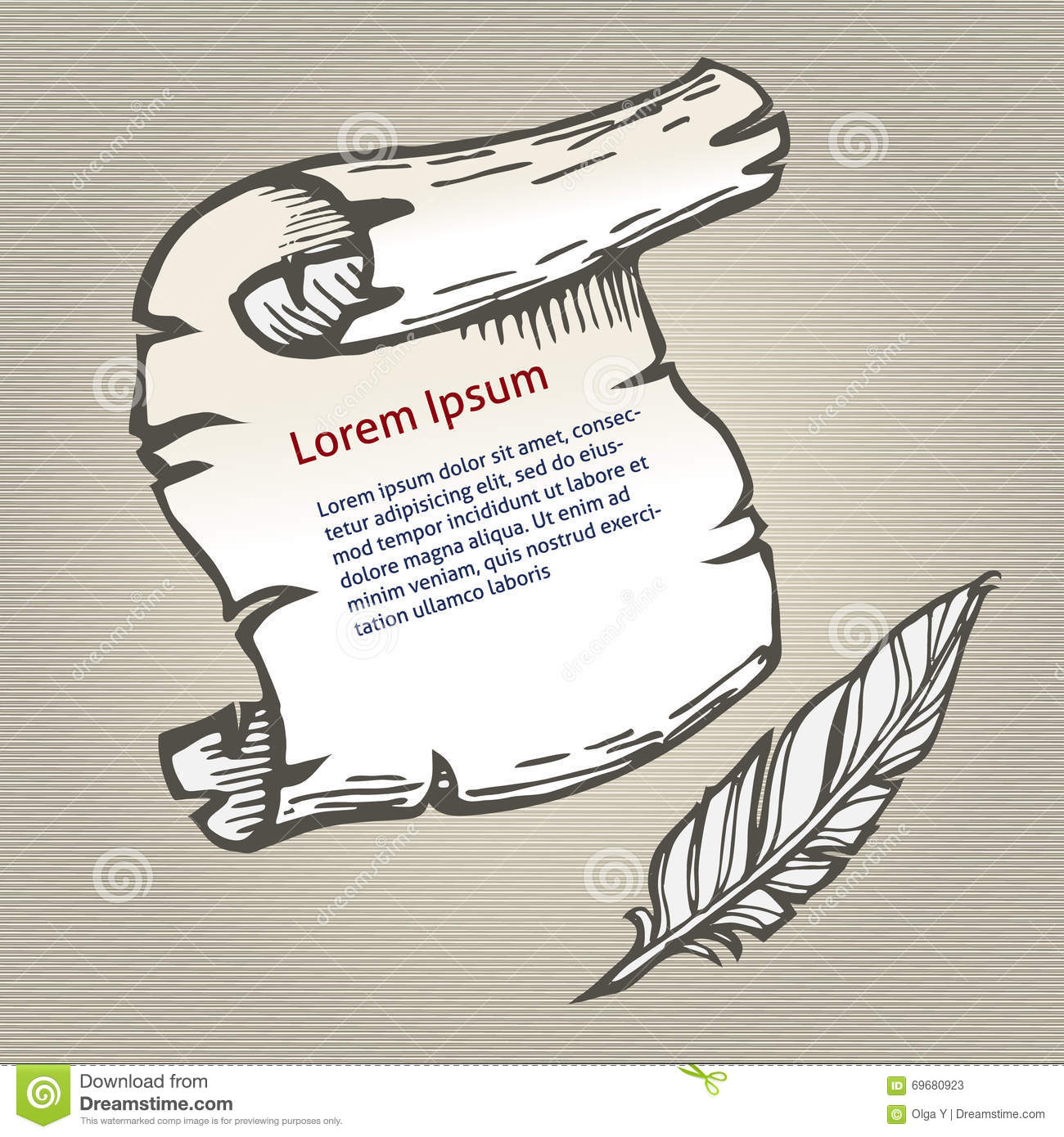 parchment with space for text and quill pen writing  sketch vector illustration stock vector