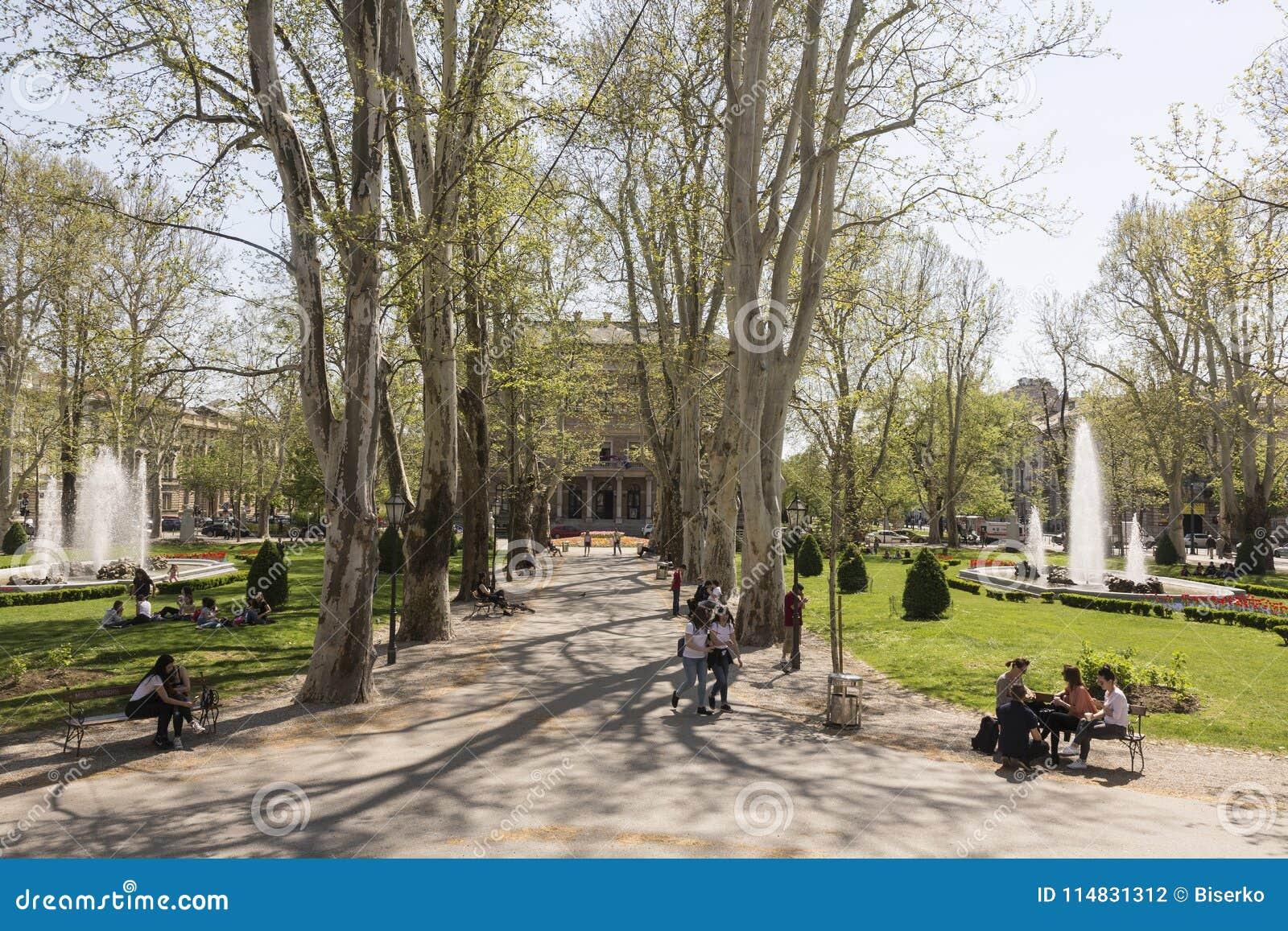 Parco di Zrinjevac a Zagabria, croato caputal