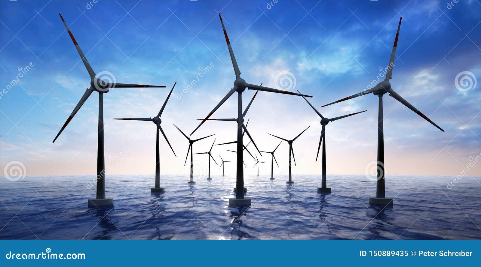 Parco eolico nell oceano al tramonto