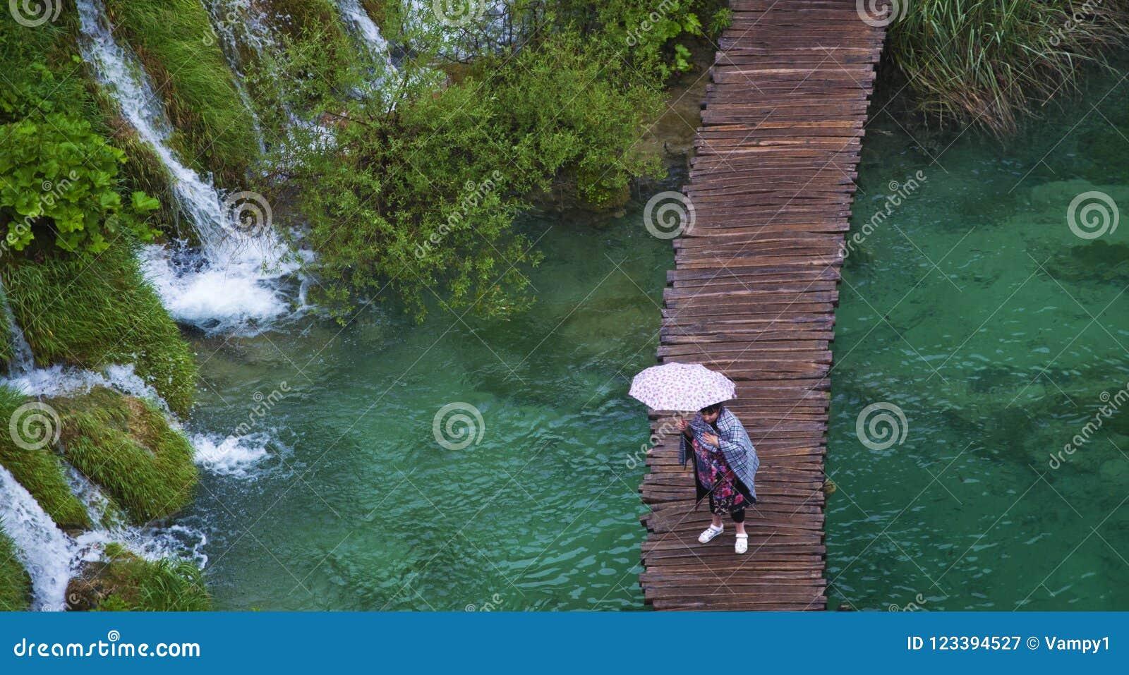 Parco nazionale dei laghi plitvice cascata lago passaggio