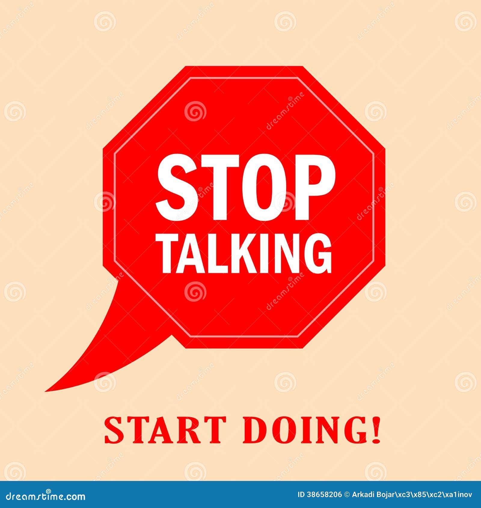 Pare de falar o cartaz do vetor