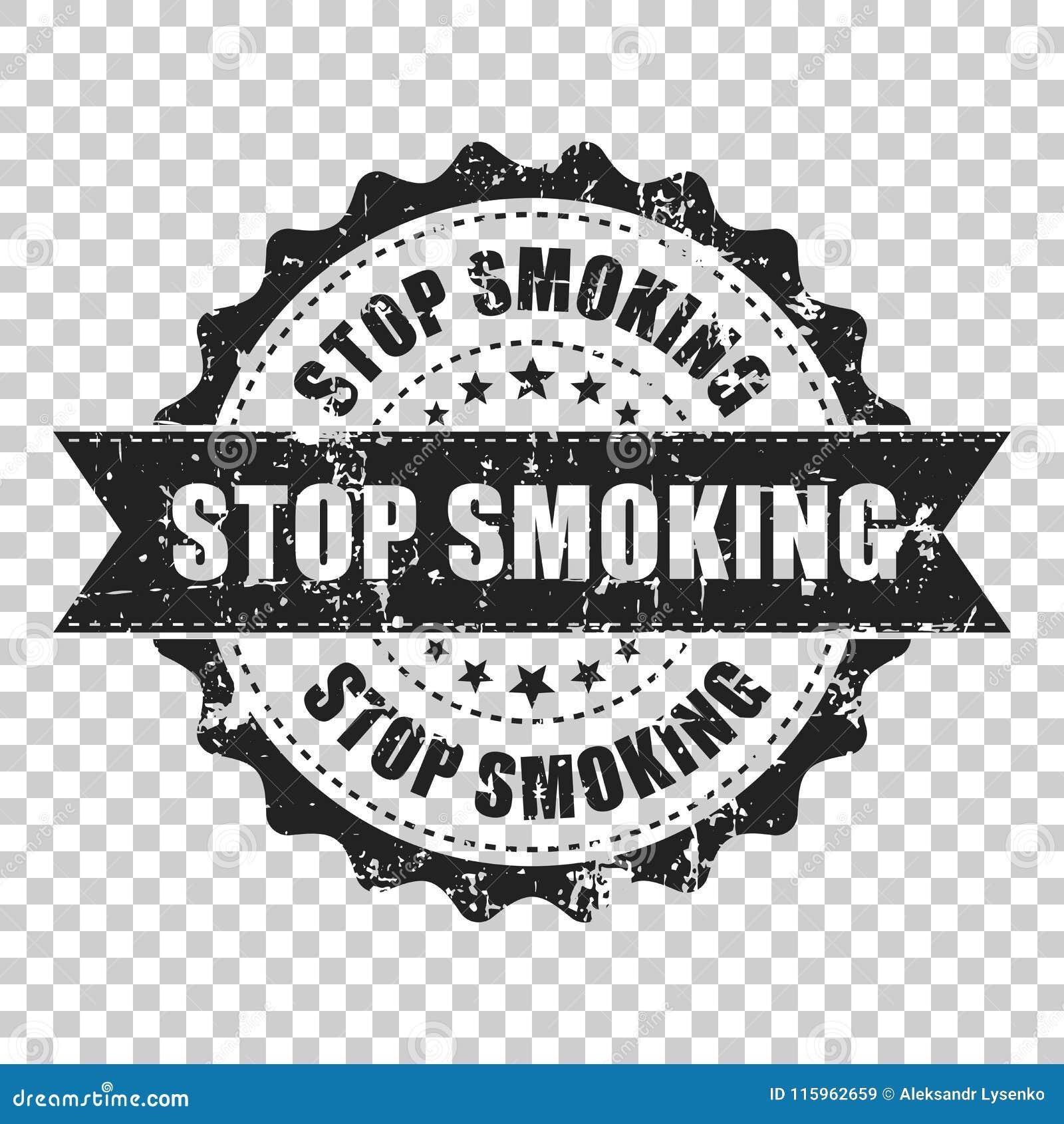 Pare de fumar o carimbo de borracha do grunge do risco Ilustração do vetor sobre